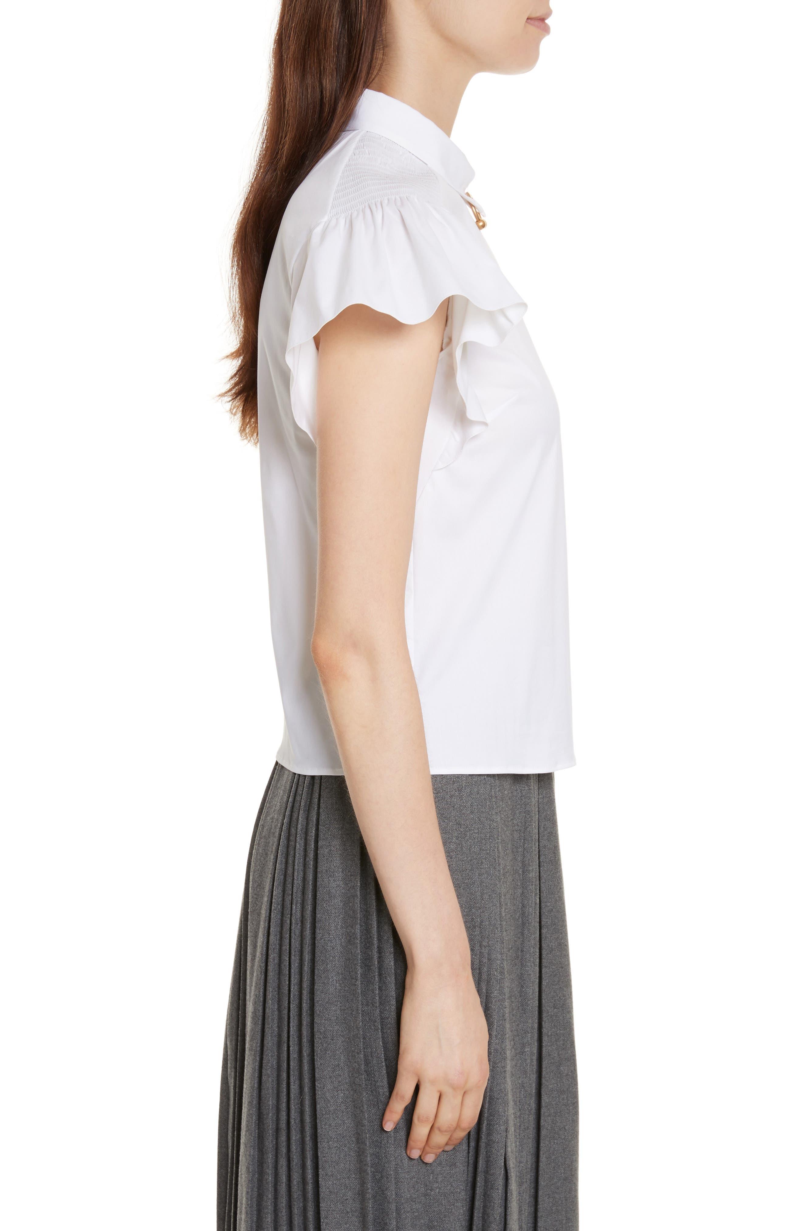 Pierced Cotton Poplin Shirt,                             Alternate thumbnail 3, color,                             100