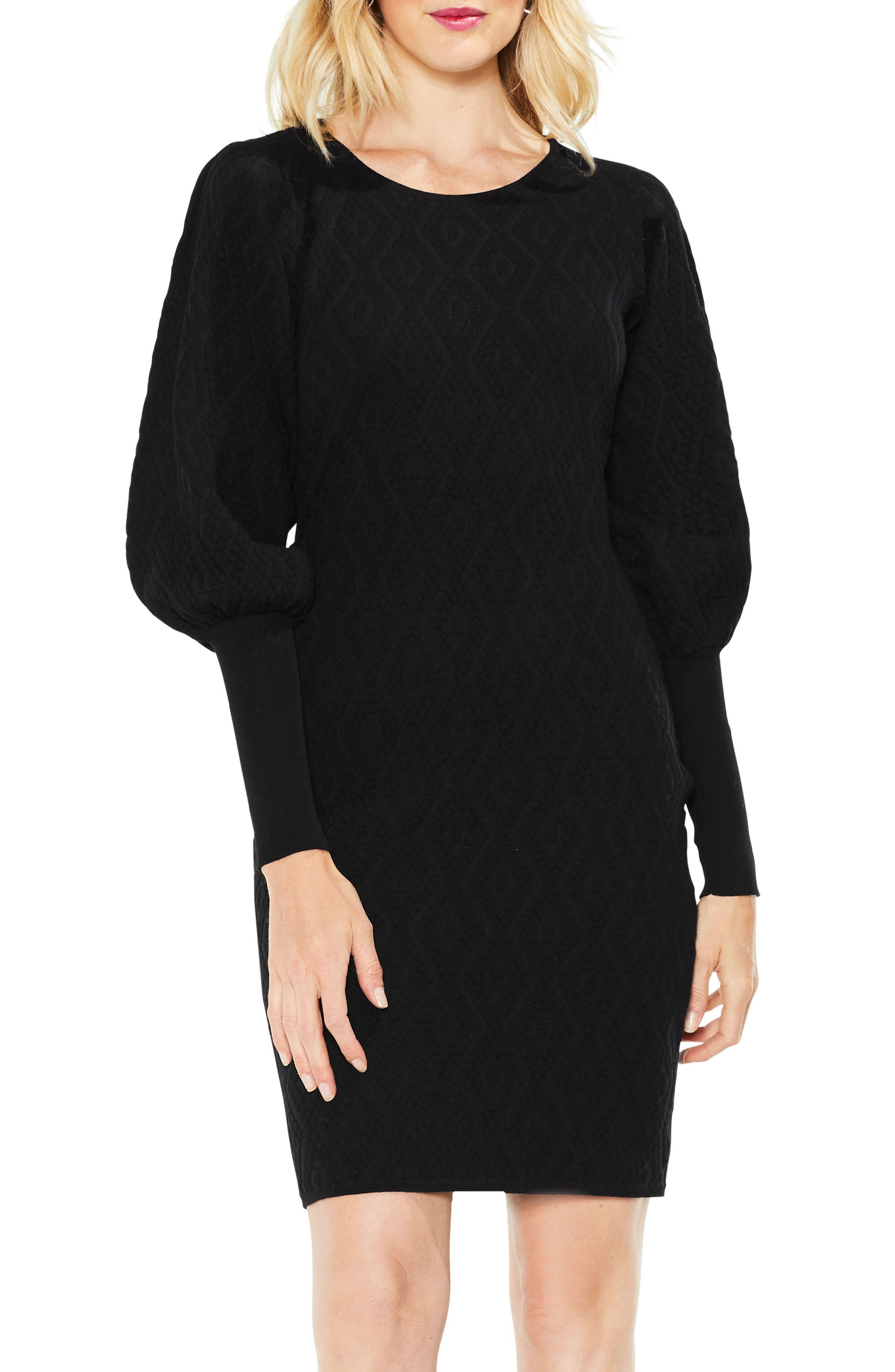 Bubble Sleeve Textured Jacquard Dress,                             Alternate thumbnail 3, color,                             010