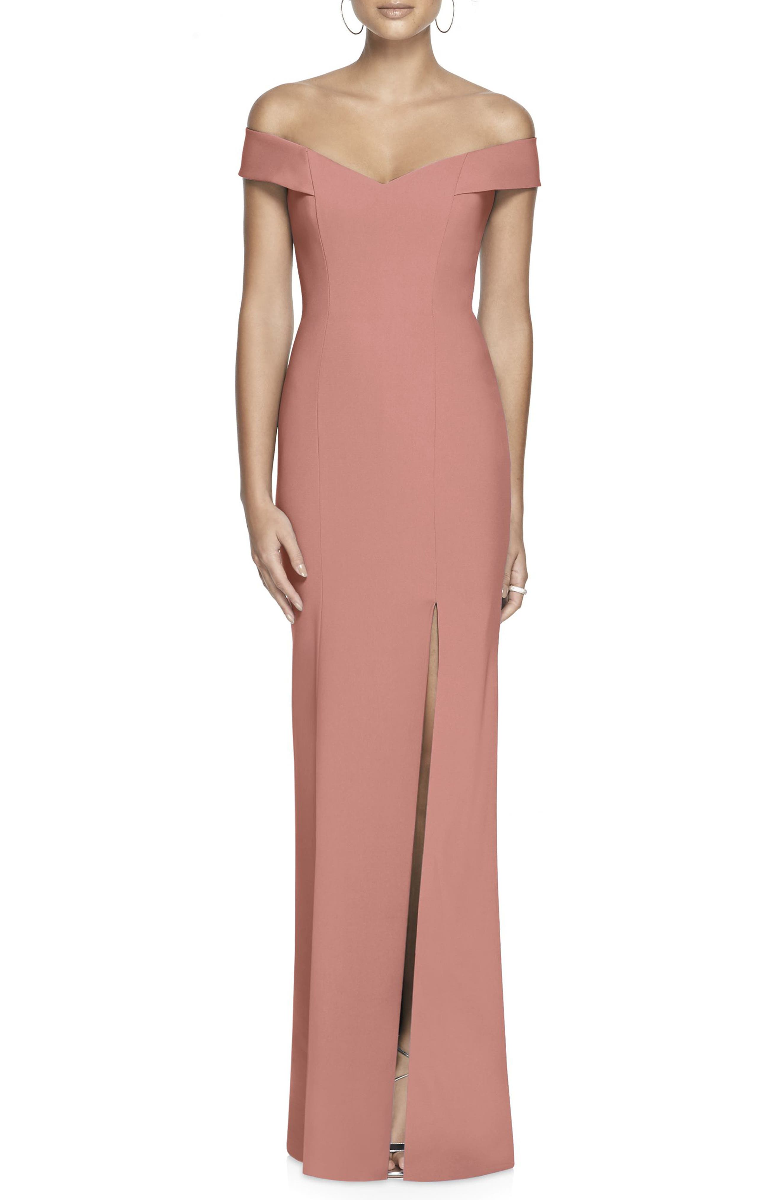 Dessy Collection Off The Shoulder Crossback Gown, Pink