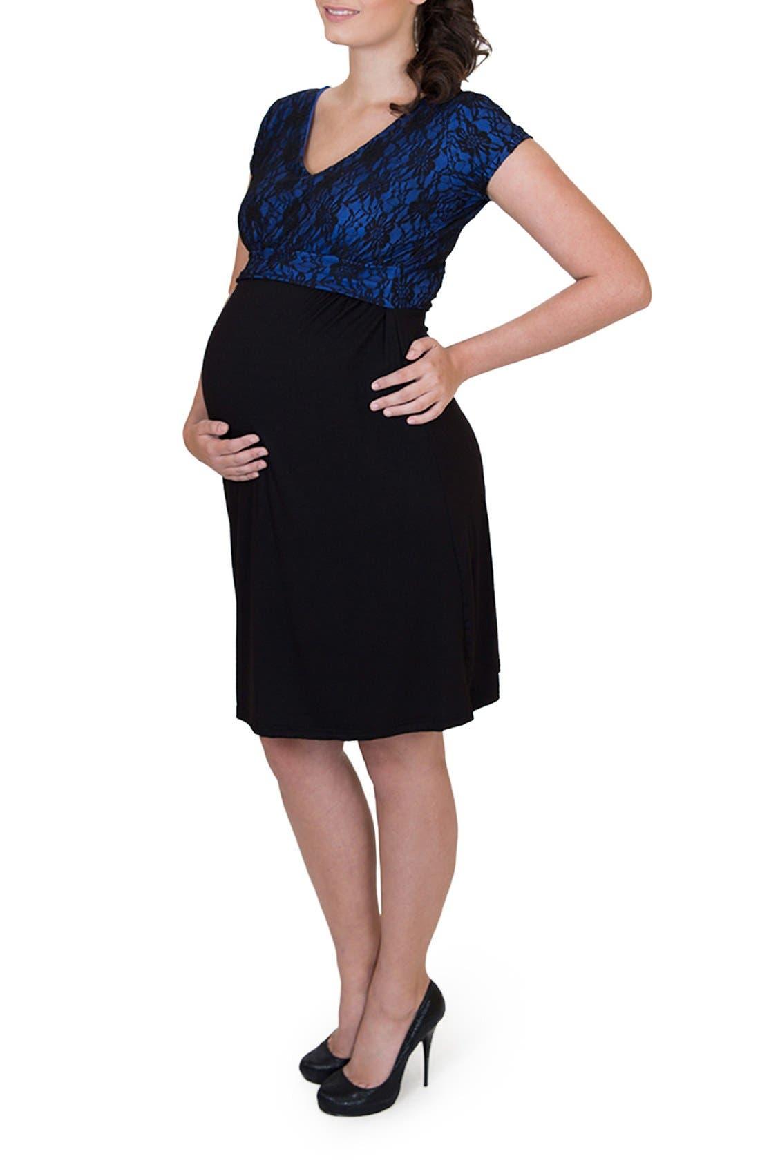 'Camila' Maternity/Nursing Dress,                             Alternate thumbnail 3, color,                             ROYAL BLUE/ BLACK