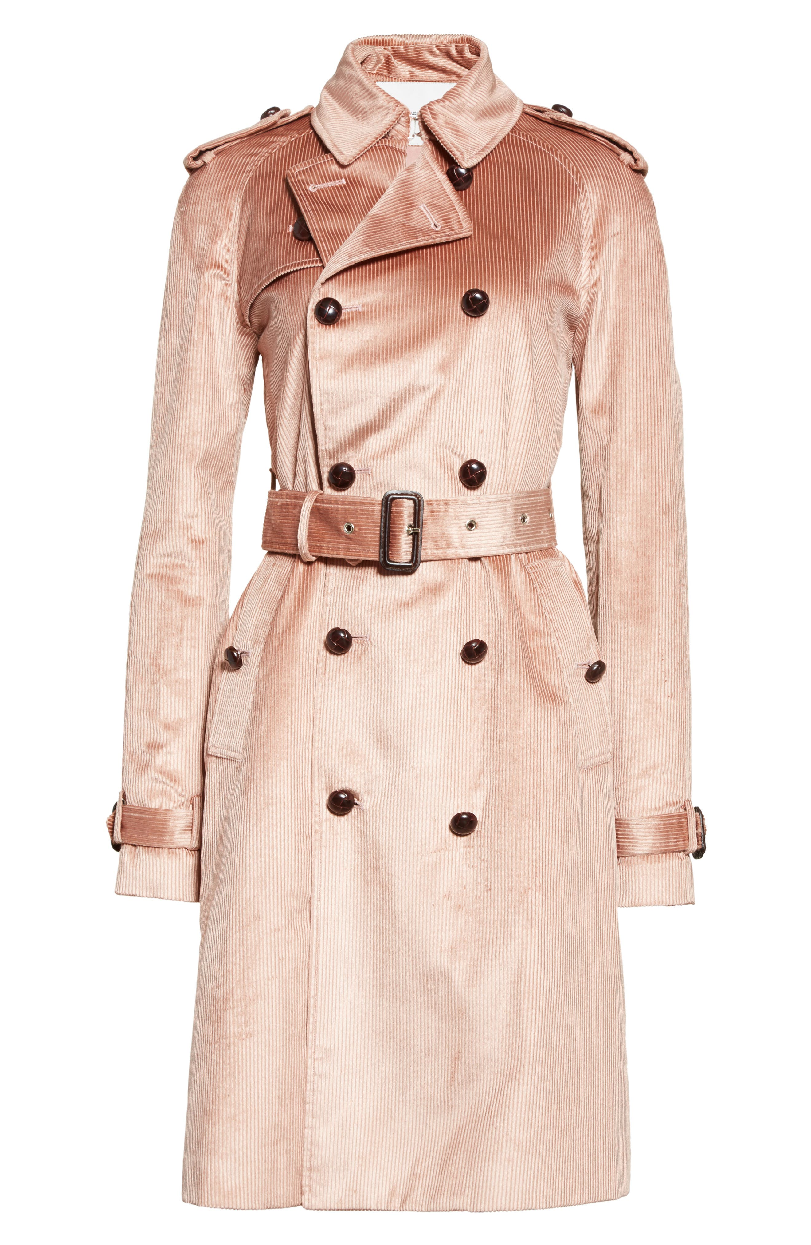Corduroy Belted Trench Coat,                             Alternate thumbnail 5, color,                             680