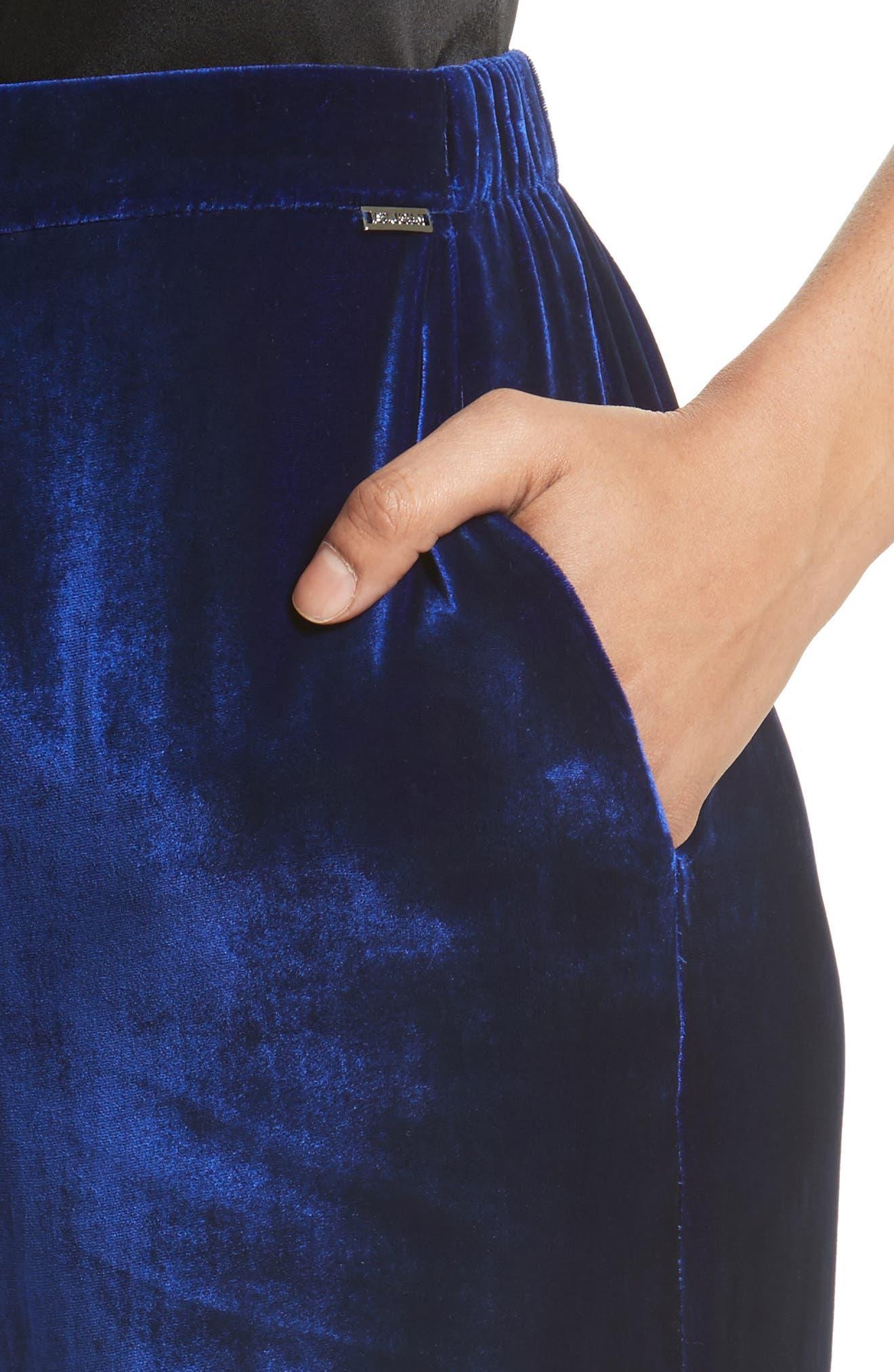 Velvet Wide Leg Pants,                             Alternate thumbnail 4, color,                             430