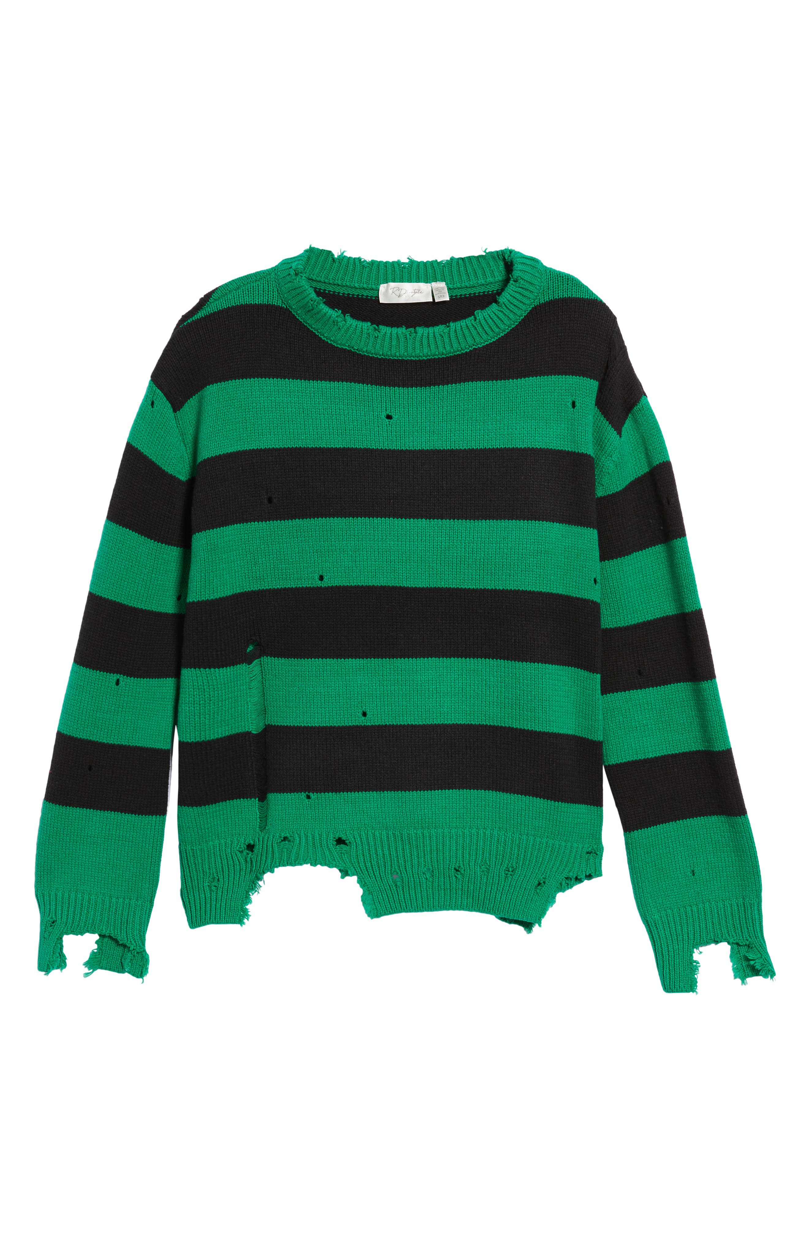Destroyed Stripe Sweater,                             Alternate thumbnail 6, color,                             300