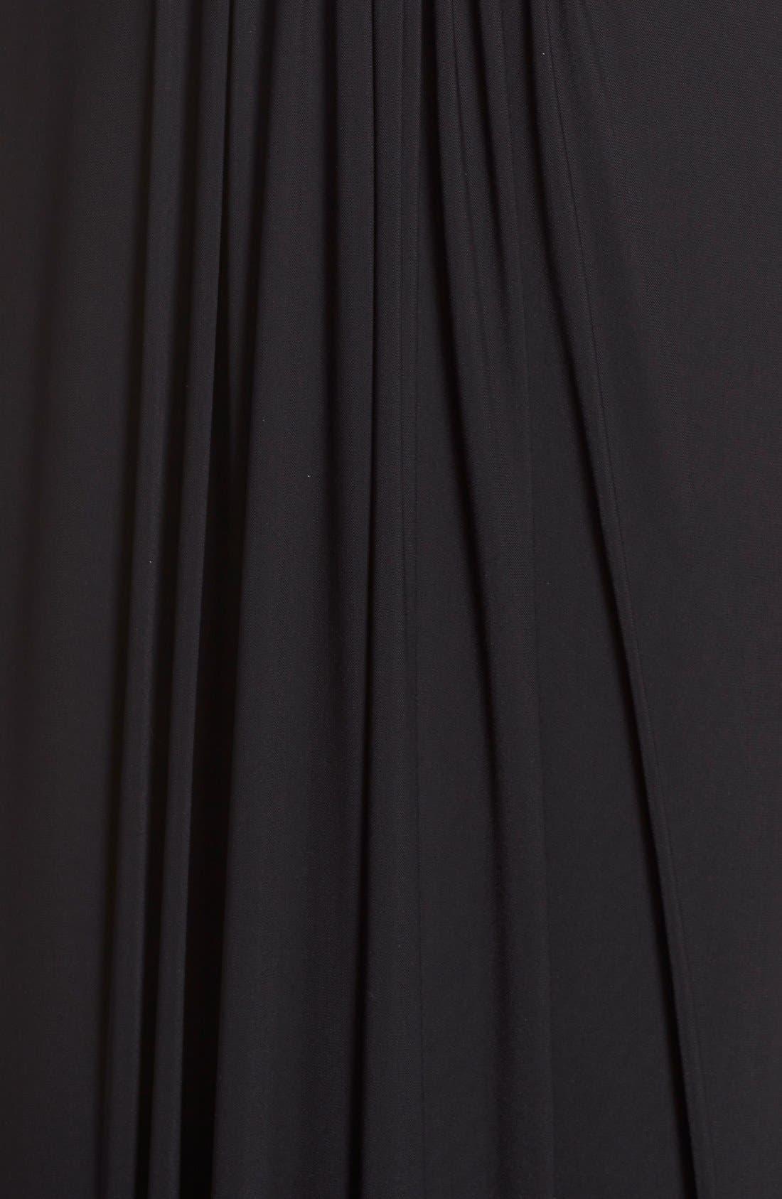 Beaded V-Neck Pleat Mesh Gown,                             Alternate thumbnail 5, color,                             001