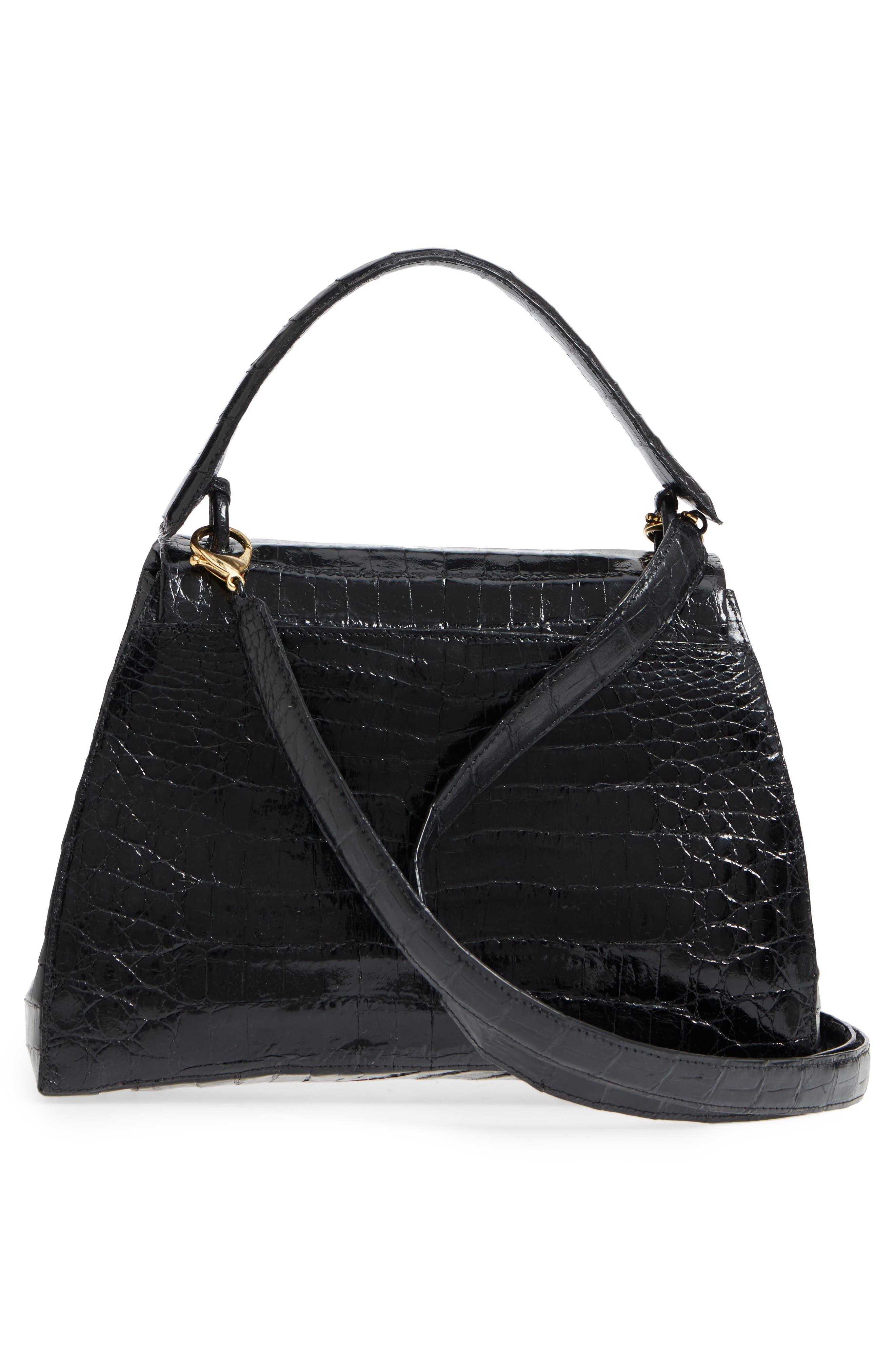 Genuine Crocodile Top Handle Bag,                             Alternate thumbnail 3, color,                             BLACK