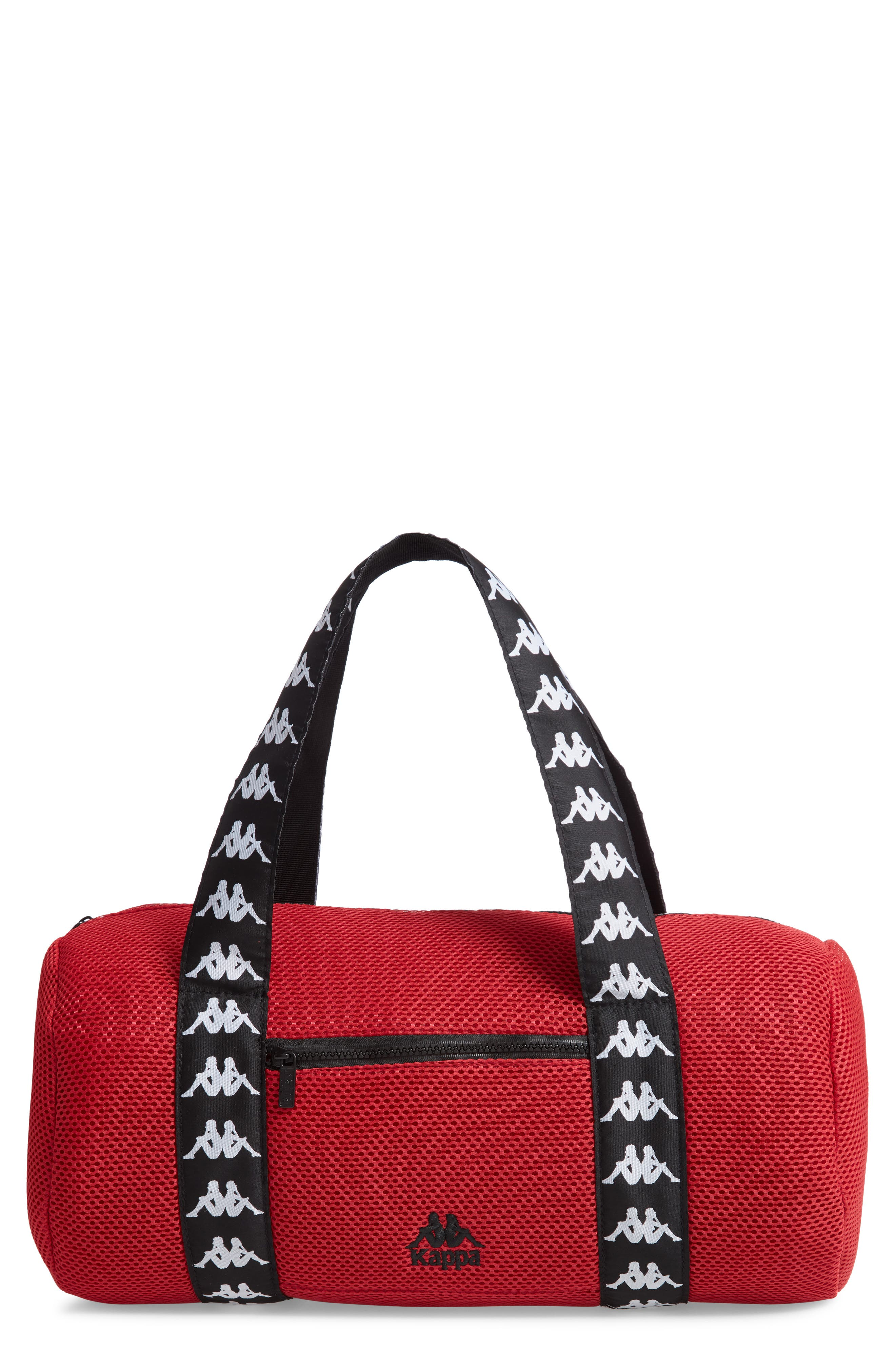 Large Mesh Athletic Duffel Bag,                             Main thumbnail 1, color,                             RED DK-BLACK-WHITE