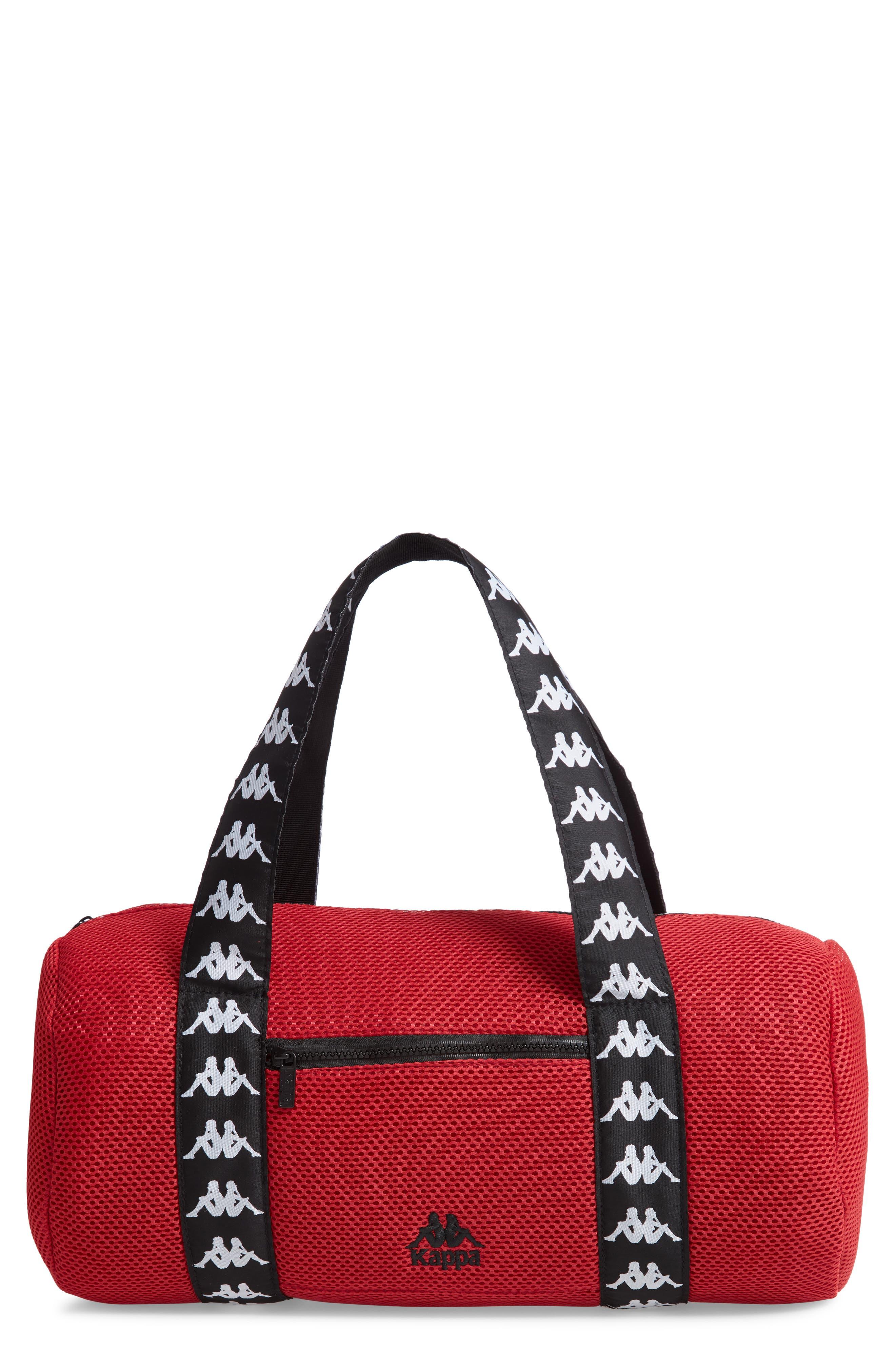 Large Mesh Athletic Duffel Bag,                         Main,                         color, RED DK-BLACK-WHITE