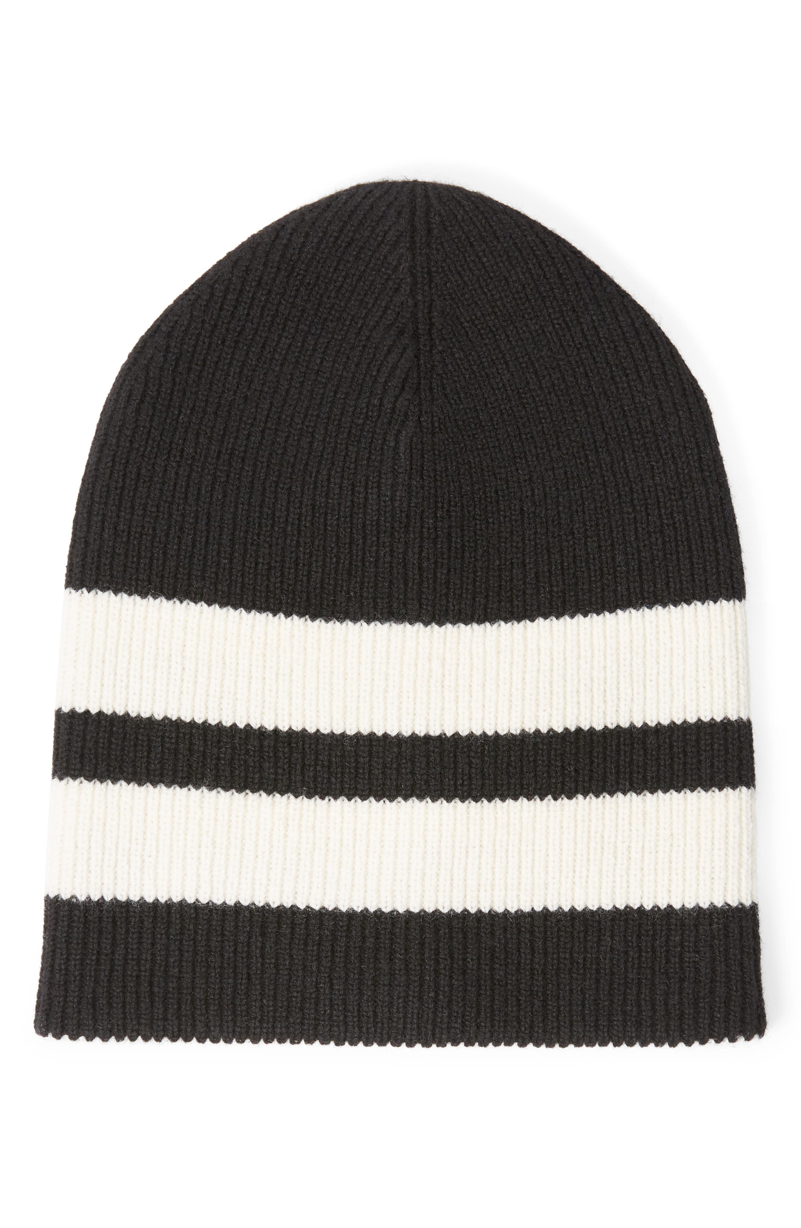 Sport Stripe Reversible Merino Wool Beanie,                             Alternate thumbnail 2, color,                             100