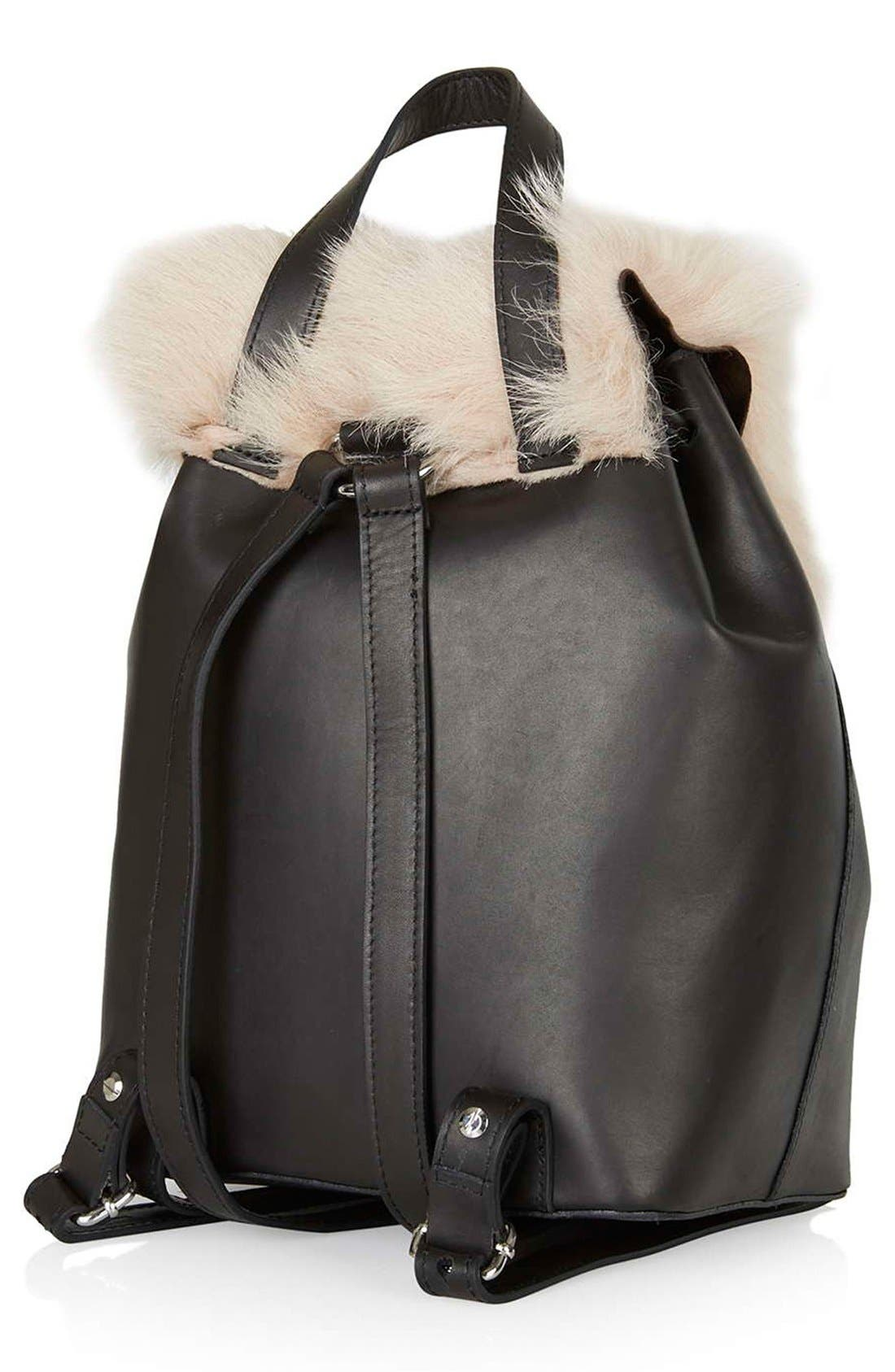 Shearling & Leather Backpack,                             Alternate thumbnail 4, color,                             250