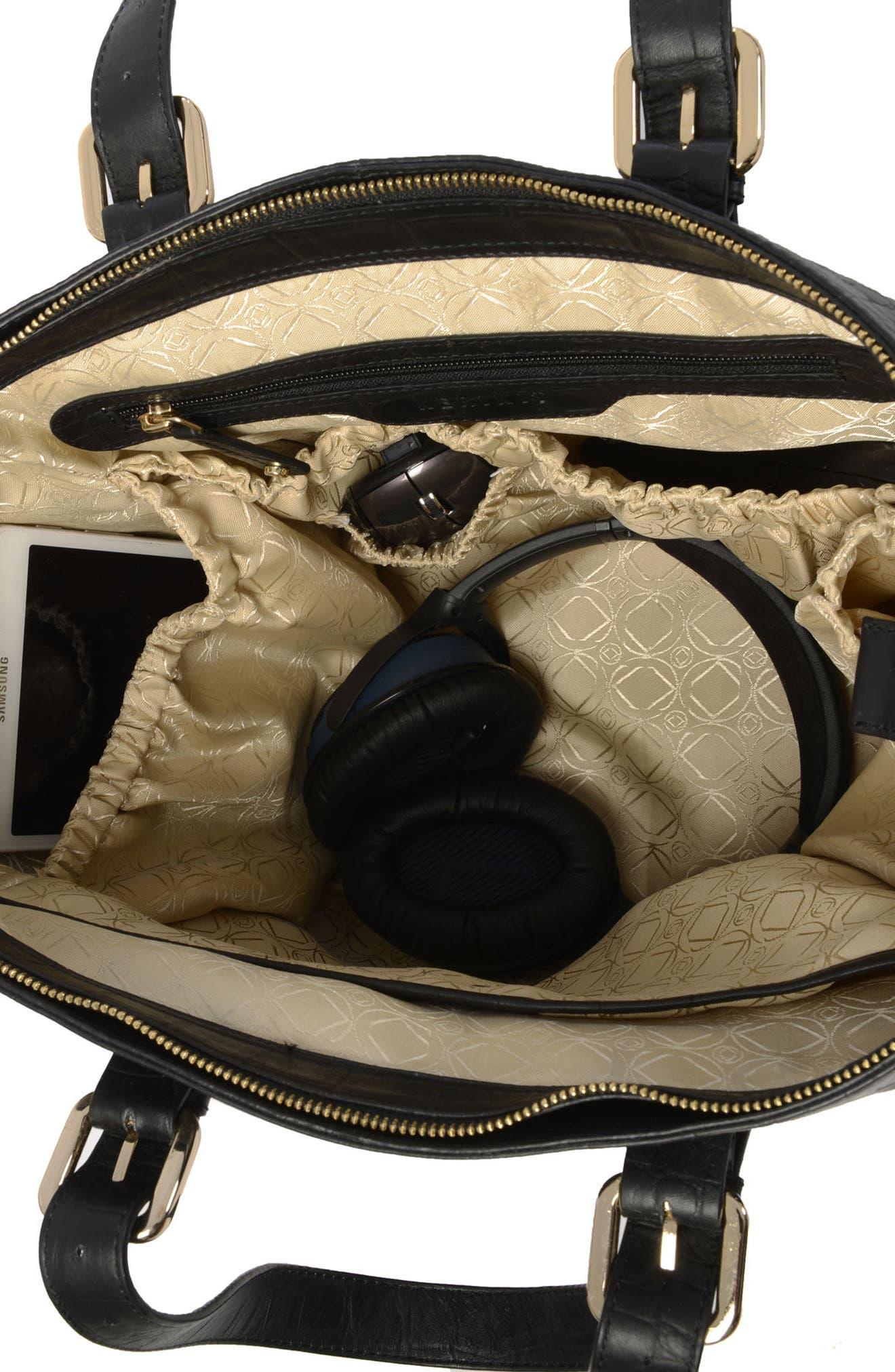 Francis Croc Embossed Leather Diaper Bag,                             Alternate thumbnail 8, color,                             001