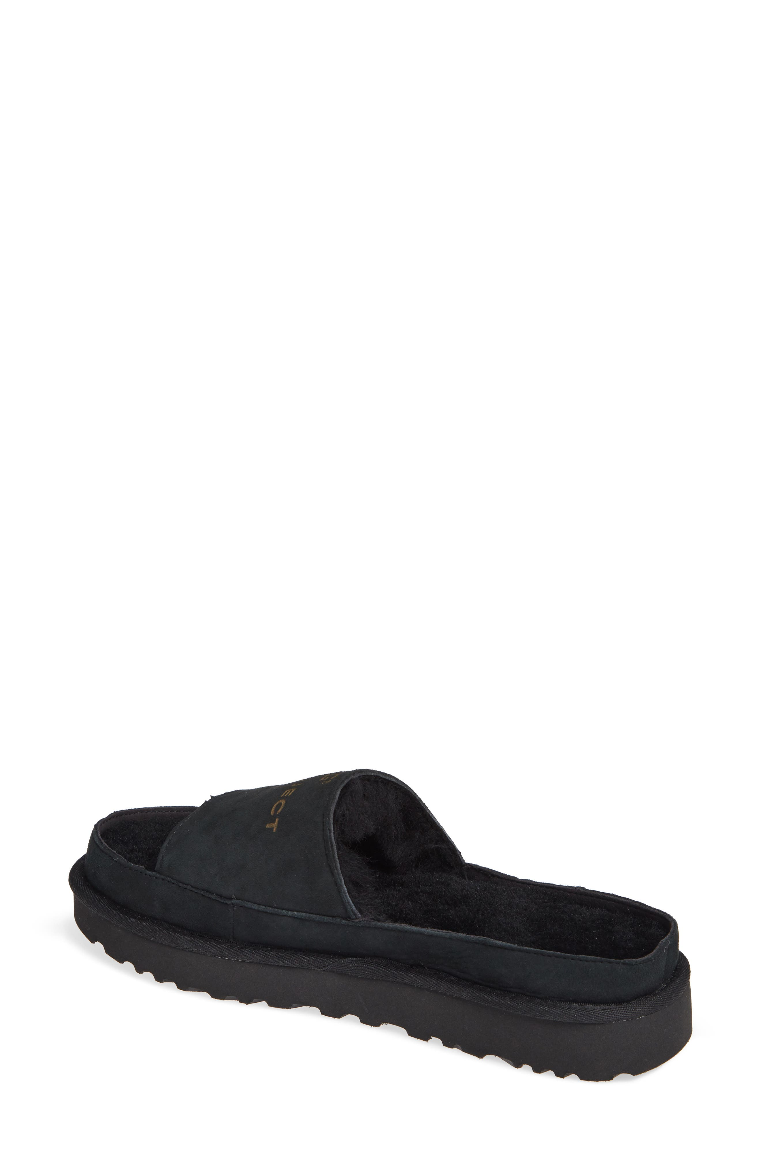 x UGG<sup>®</sup> Genuine Shearling Slide Sandal,                             Alternate thumbnail 2, color,                             001