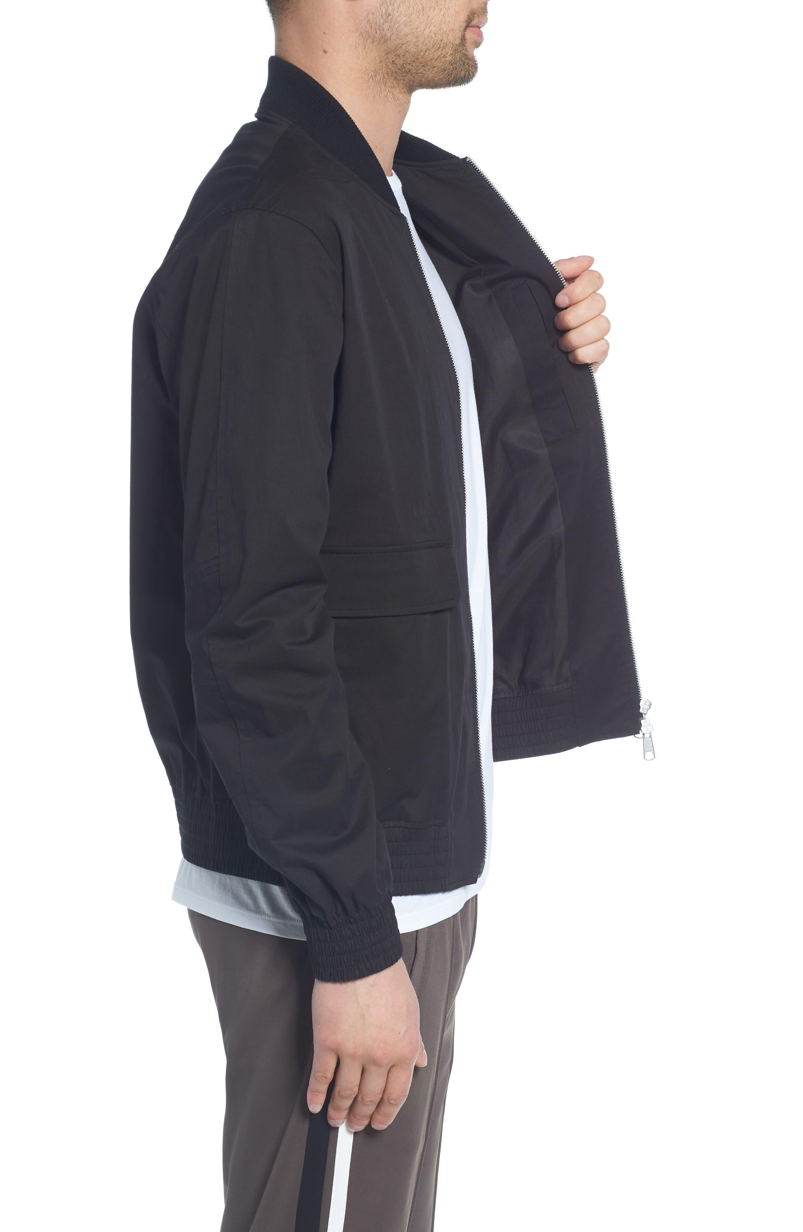 Regular Fit Bomber Jacket,                             Alternate thumbnail 3, color,                             BLACK
