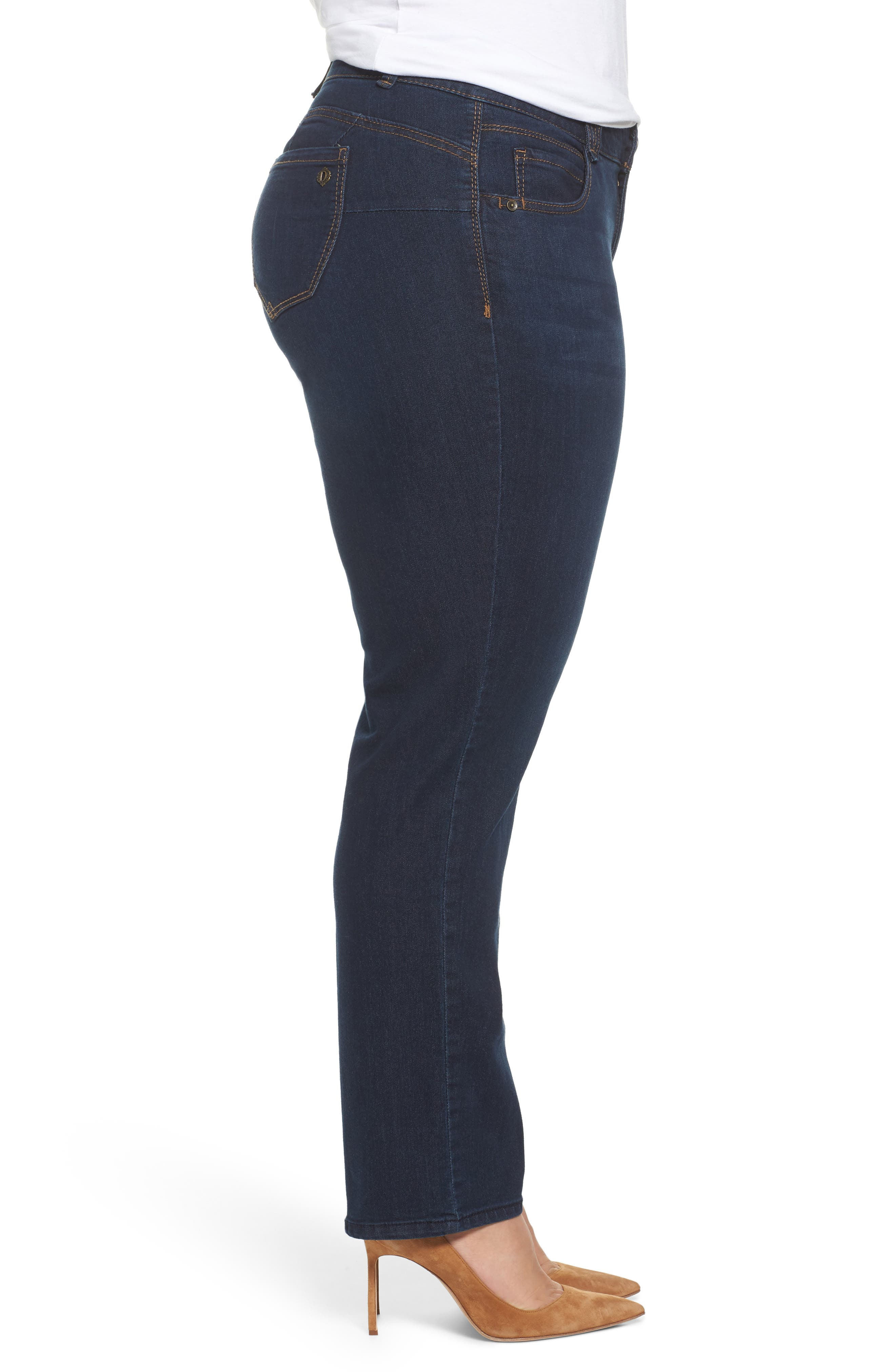 Ab-Solution Stretch Straight Leg Jeans,                             Alternate thumbnail 3, color,                             INDIGO