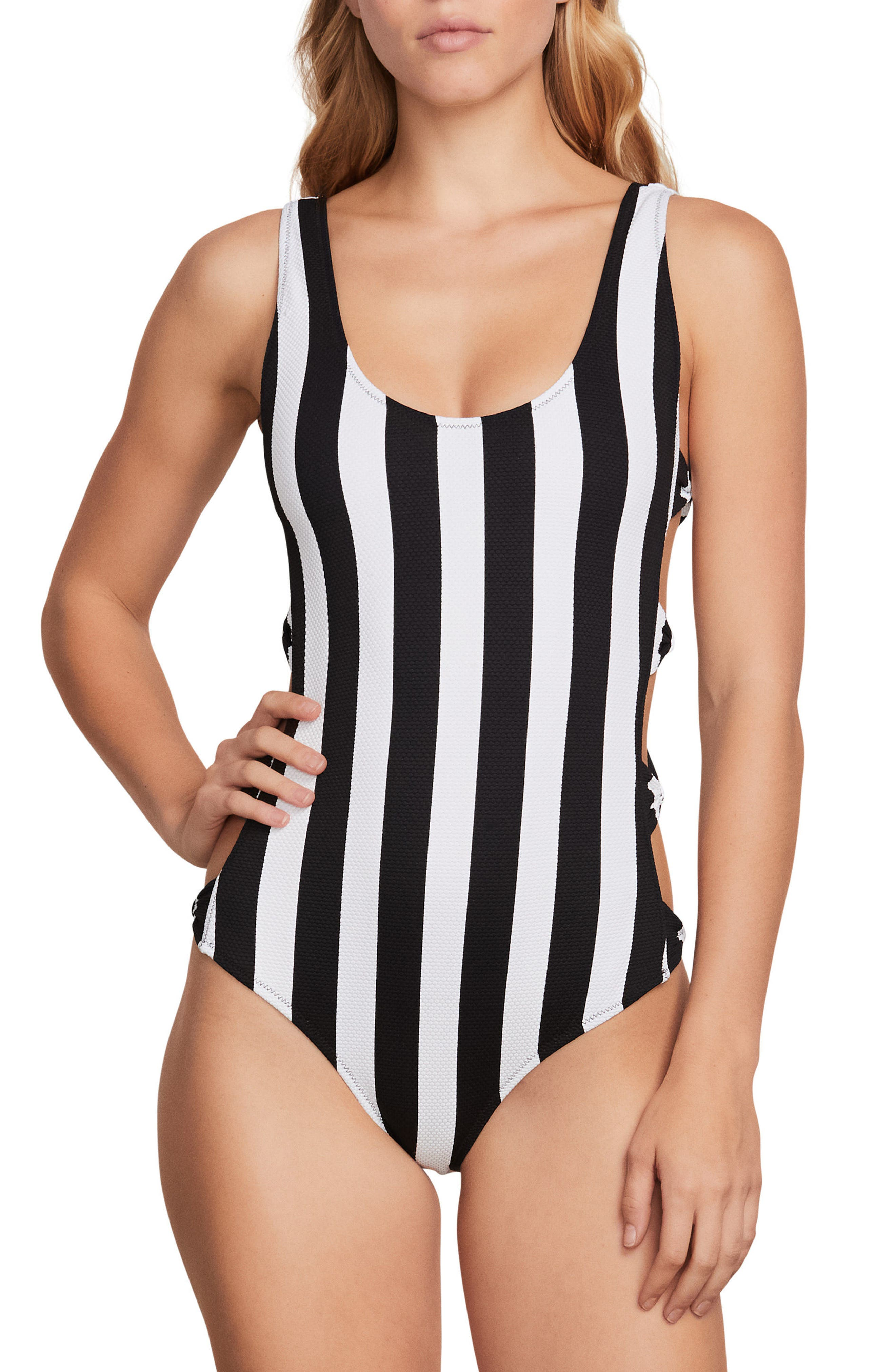 Stripe Club One-Piece Swimsuit,                         Main,                         color, 001