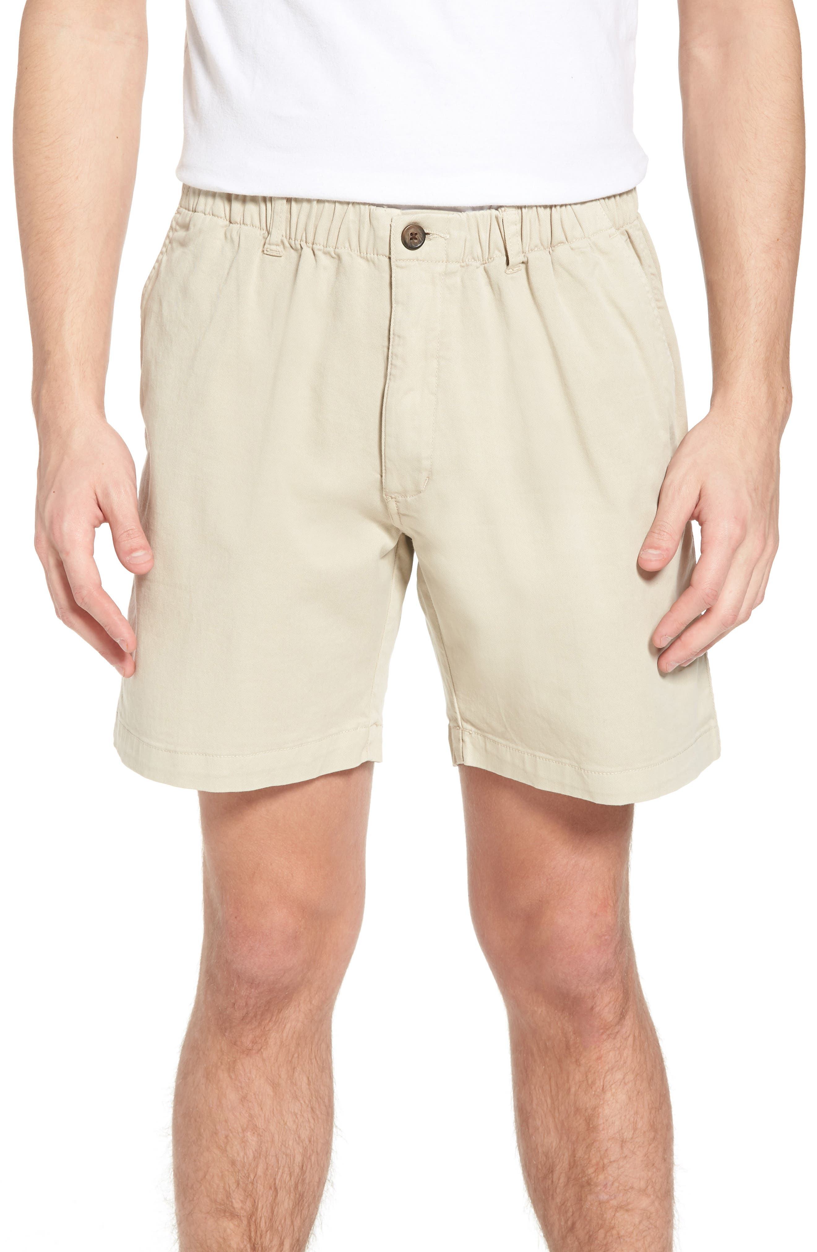 7in Snappers Elastic Waist Shorts,                             Main thumbnail 1, color,                             STONE