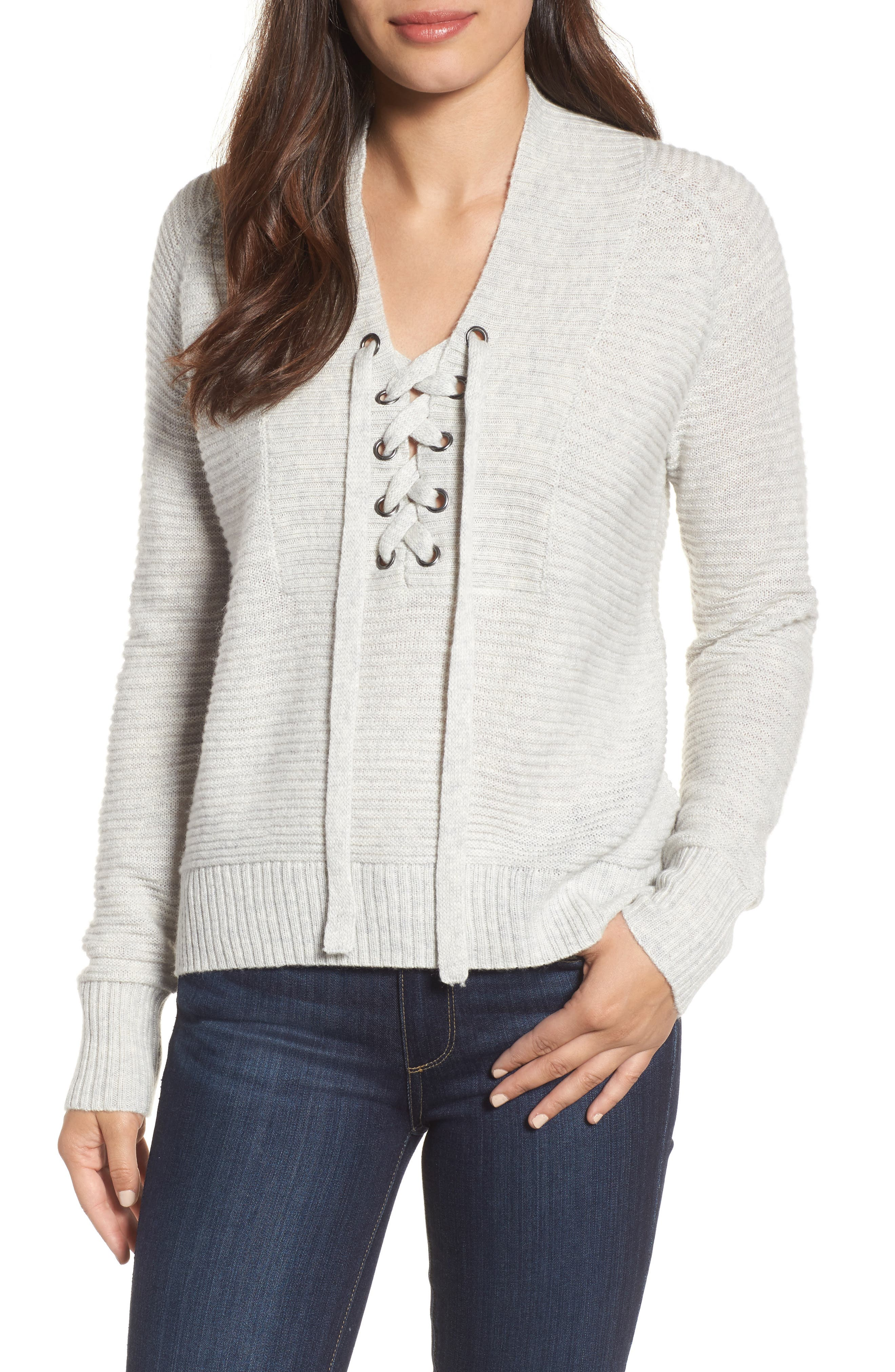 Lace-Up Sweater,                         Main,                         color,