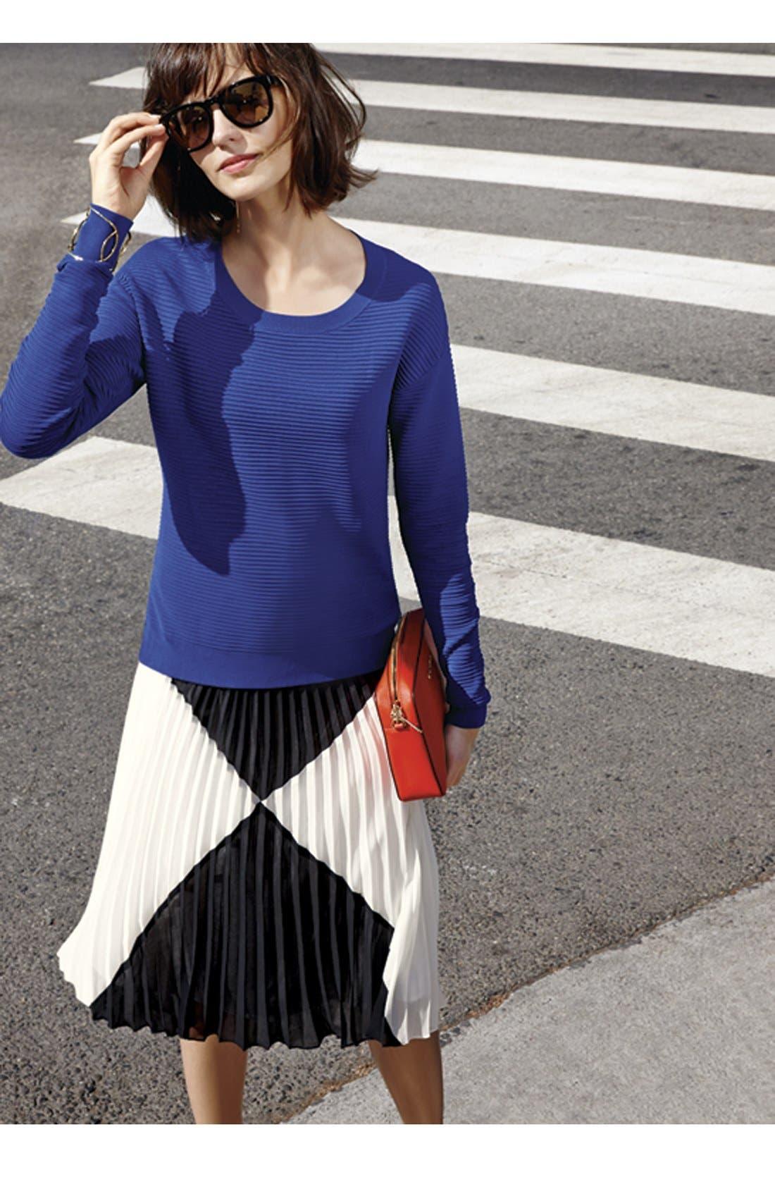 HALOGEN<SUP>®</SUP>,                             'Sunburst' Pleat Midi Skirt,                             Alternate thumbnail 2, color,                             001