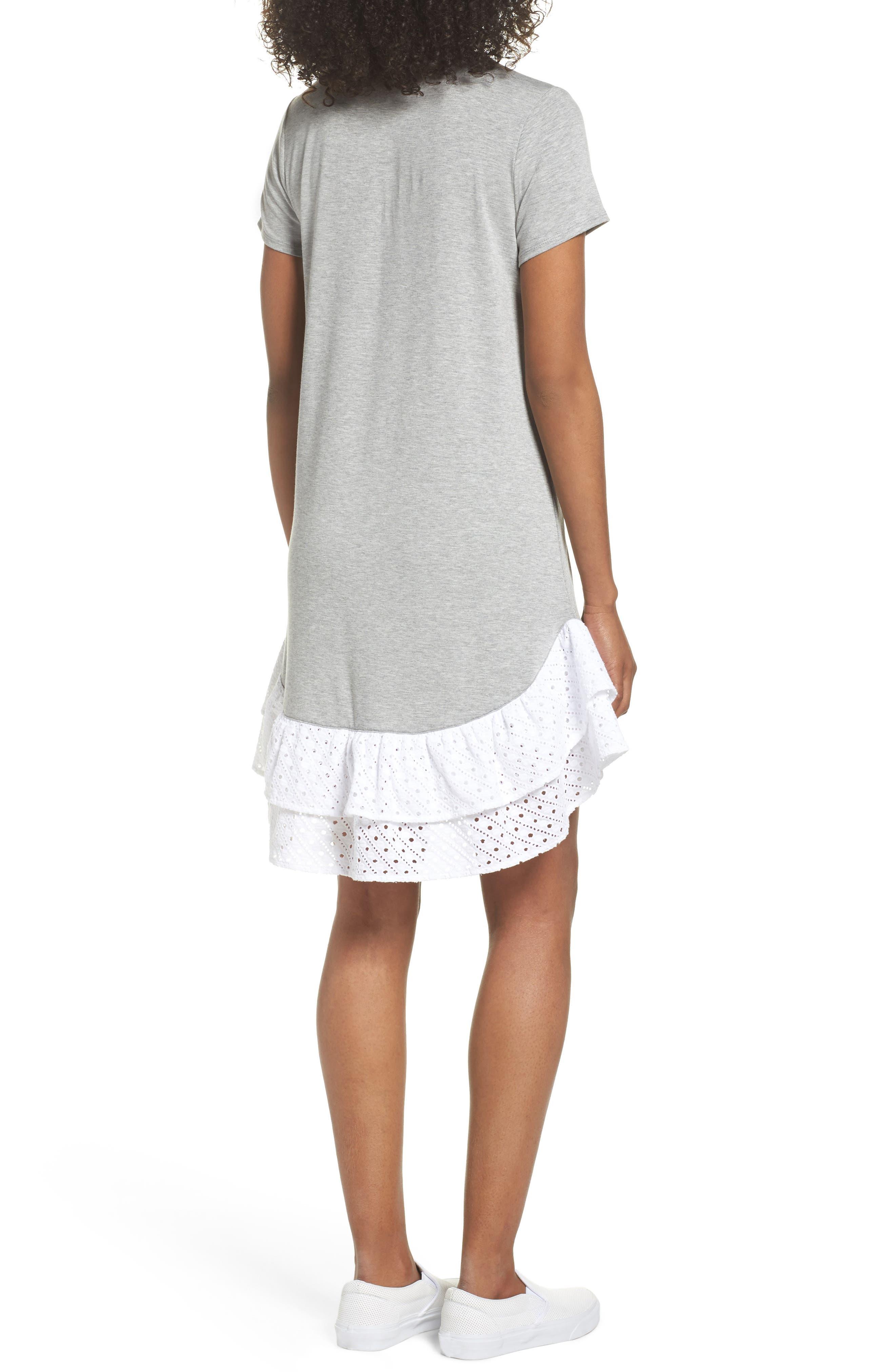 Eyelet Trim T-Shirt Dress,                             Alternate thumbnail 2, color,                             030