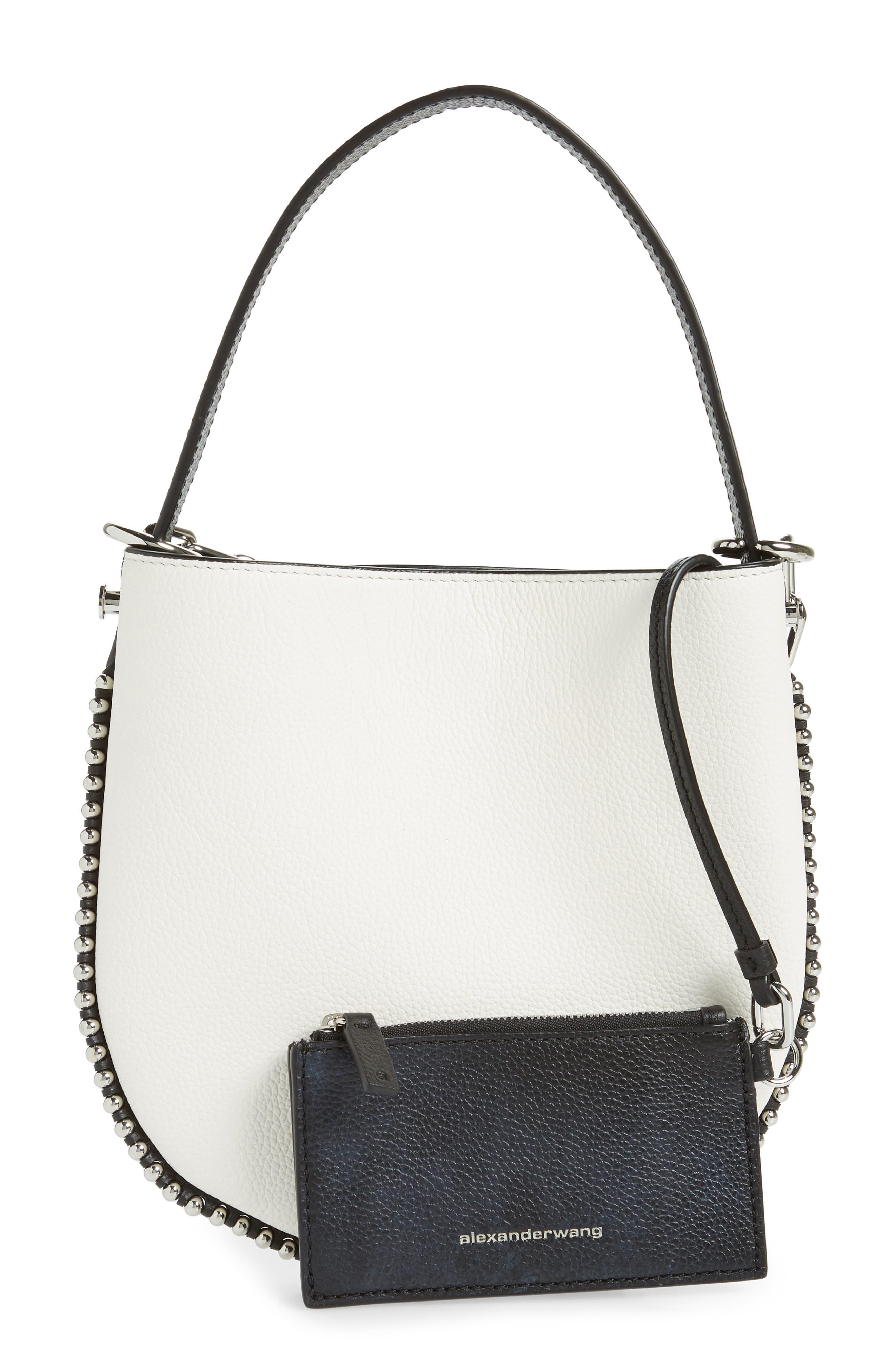 ALEXANDER WANG,                             Mini Roxy Leather Hobo Bag,                             Alternate thumbnail 4, color,                             BLACK/ WHITE