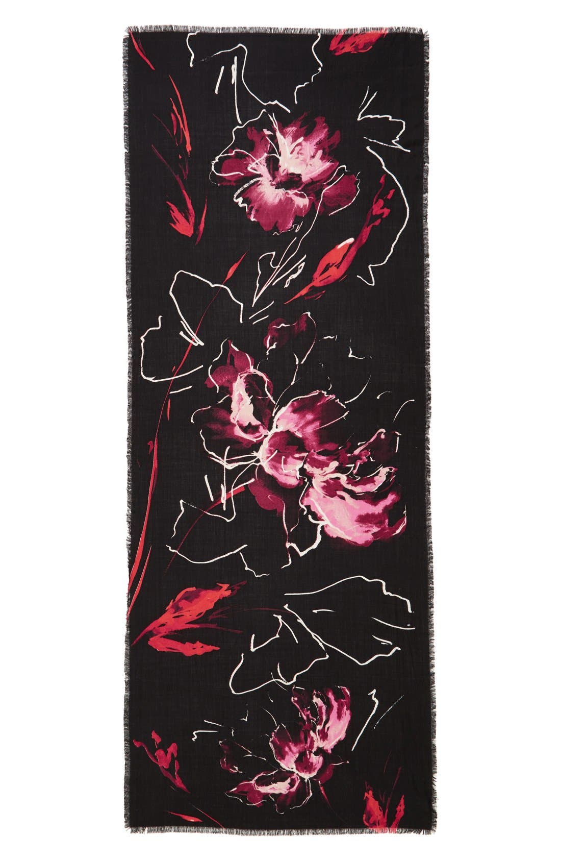 Expressionist Floral Print Scarf,                             Main thumbnail 1, color,                             001