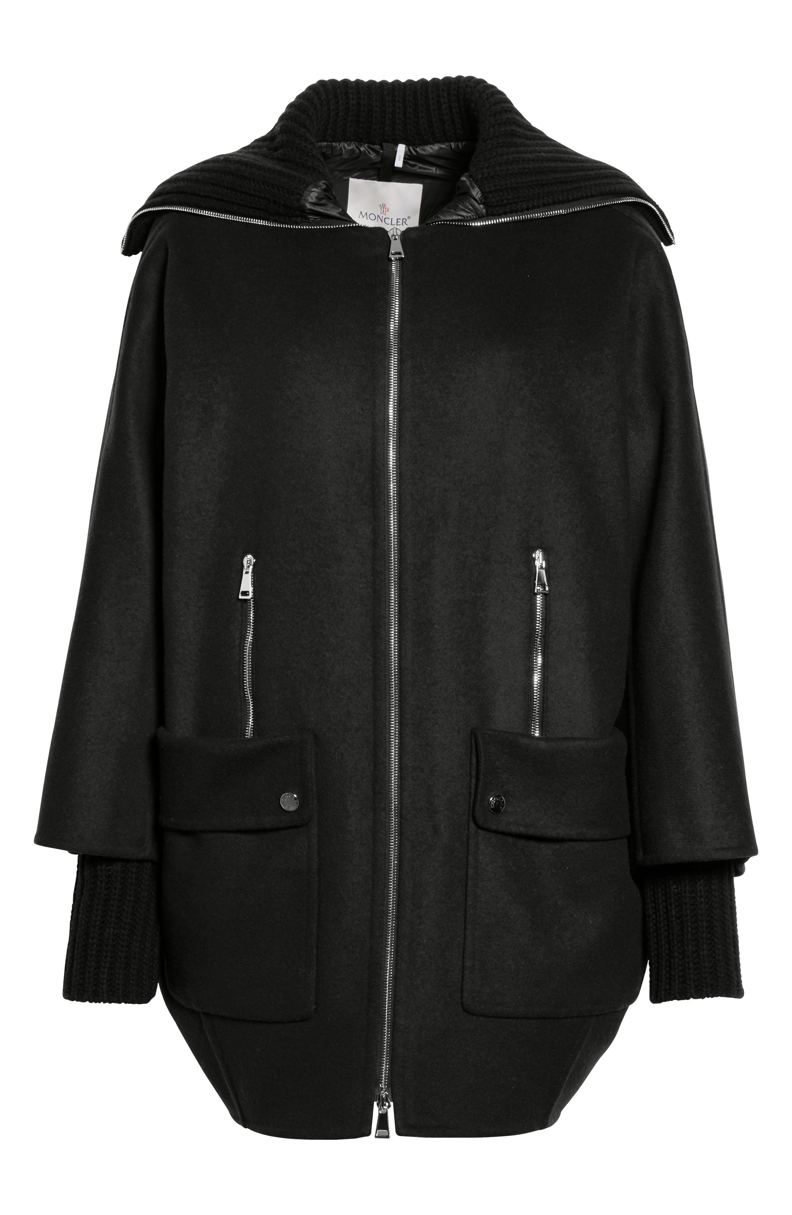 Acanthus Wool & Cashmere Coat with Removable Down Puffer Layer,                             Alternate thumbnail 5, color,                             BLACK