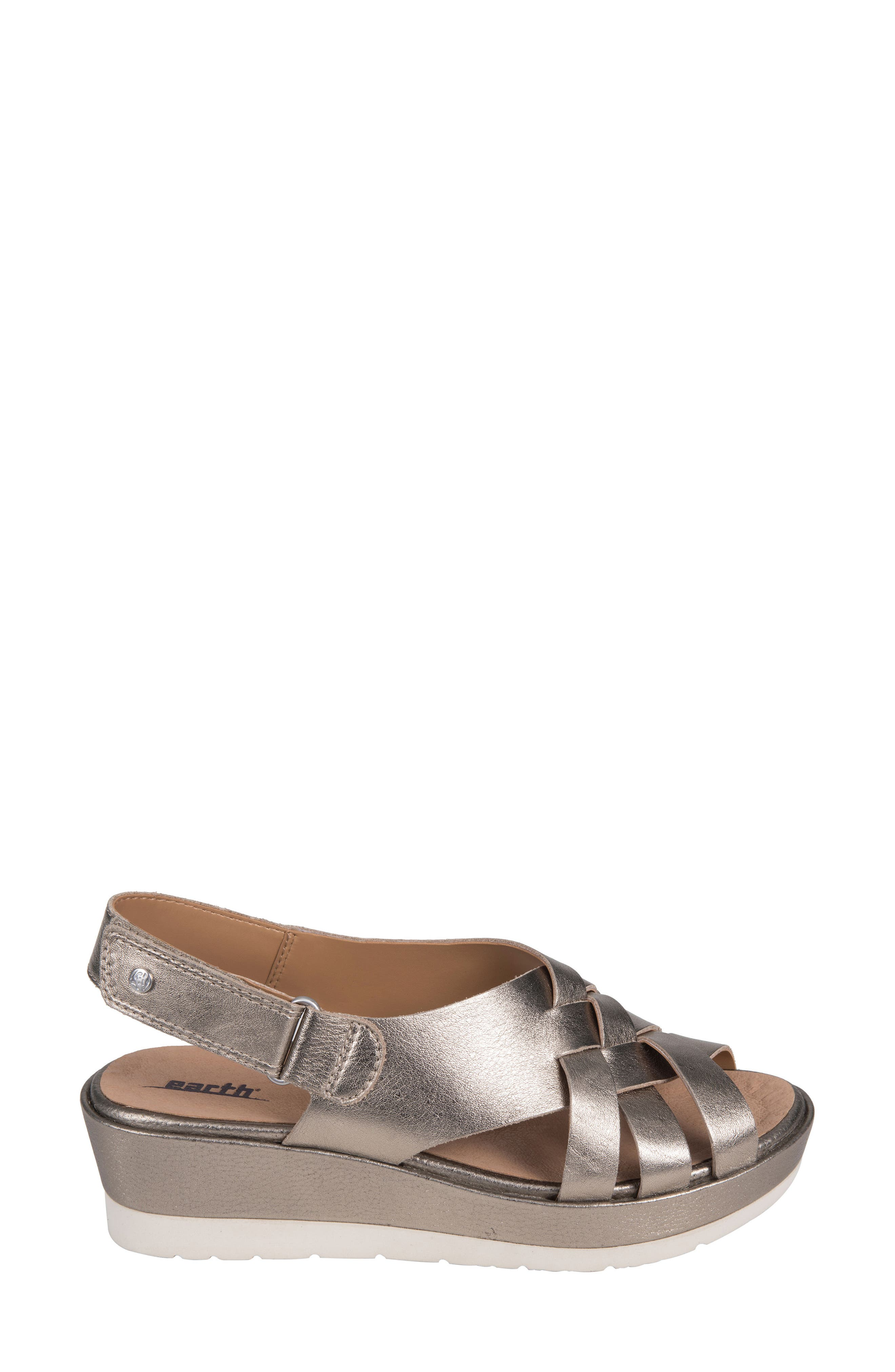 Sunflower Wedge Sandal,                             Alternate thumbnail 3, color,                             WASHED GOLD METALLIC LEATHER