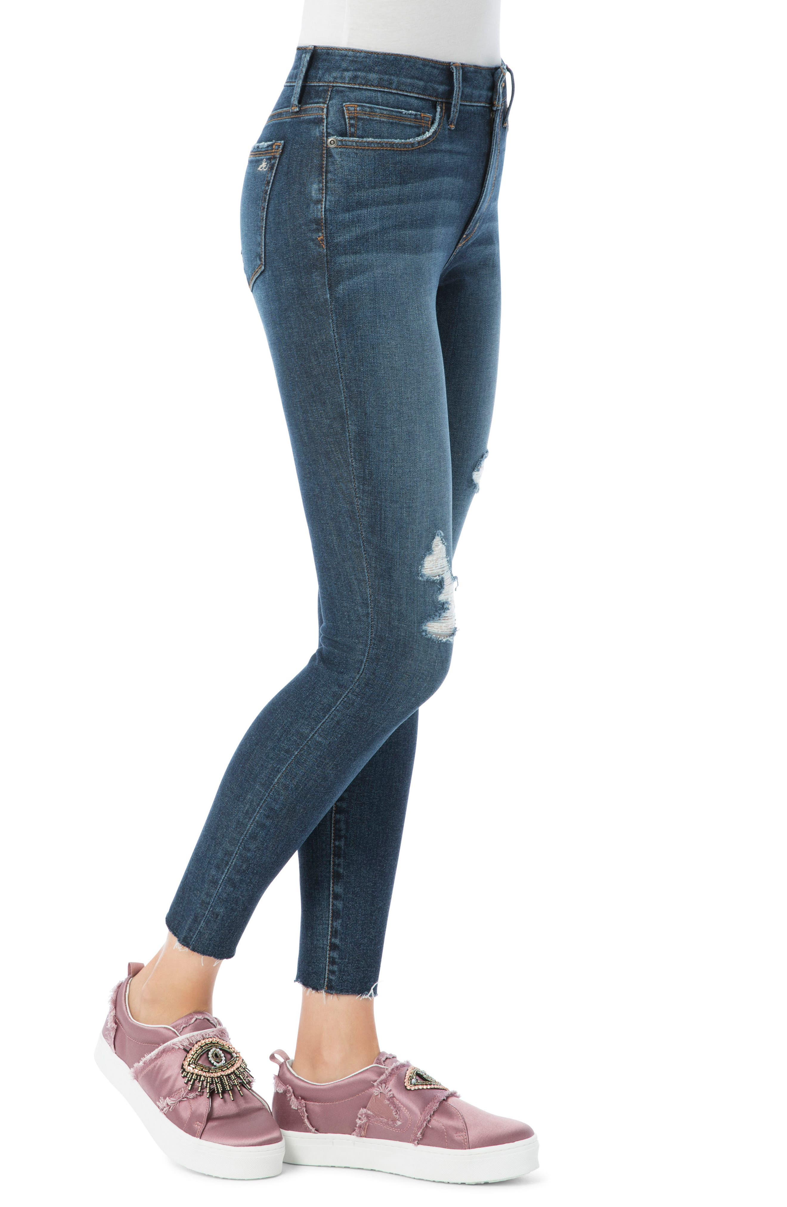 Kitten Ripped Skinny Ankle Jeans,                             Alternate thumbnail 3, color,