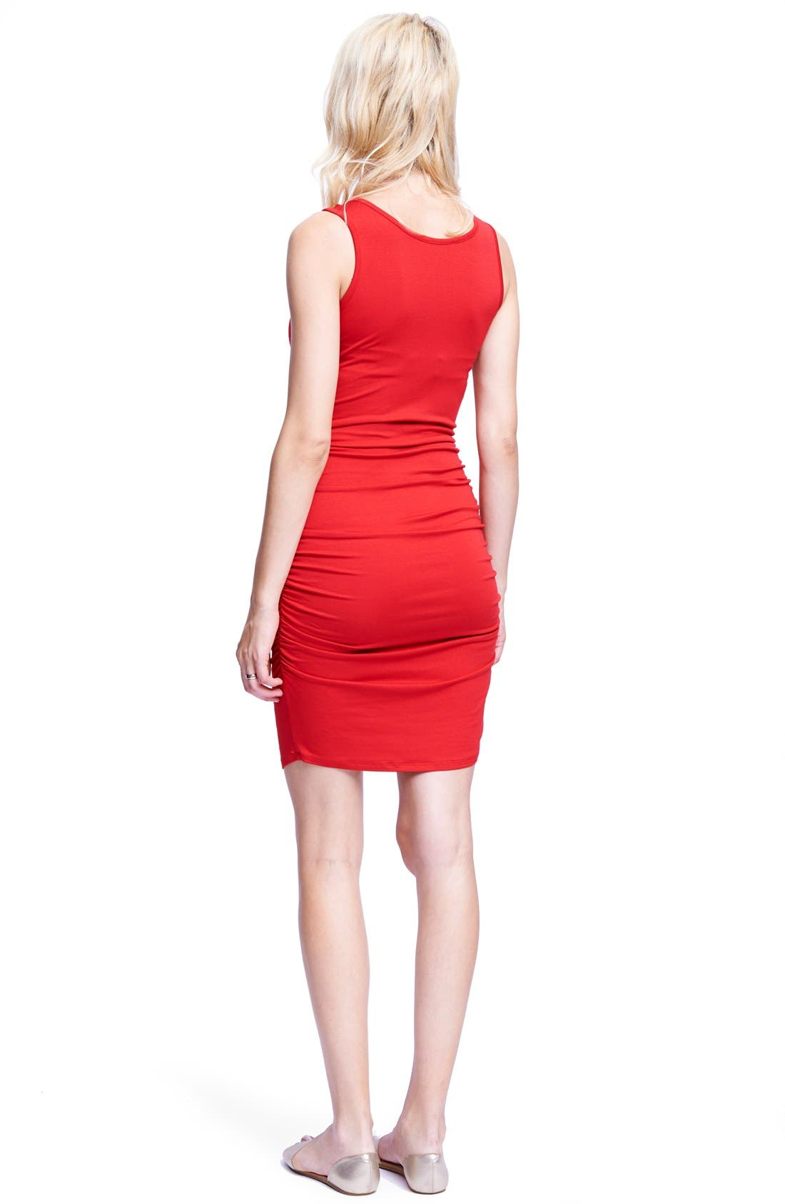Ruched Maternity/Nursing Dress,                             Alternate thumbnail 3, color,                             RED