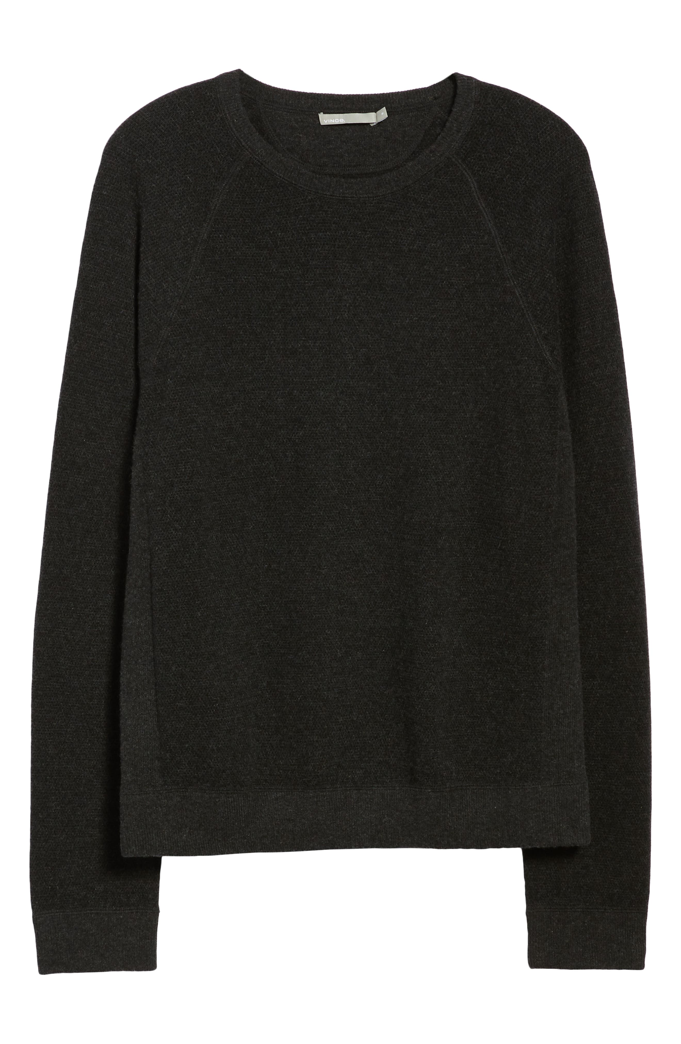 Bird's Eye Sweater,                             Alternate thumbnail 6, color,                             H CHARCOAL/ BLACK