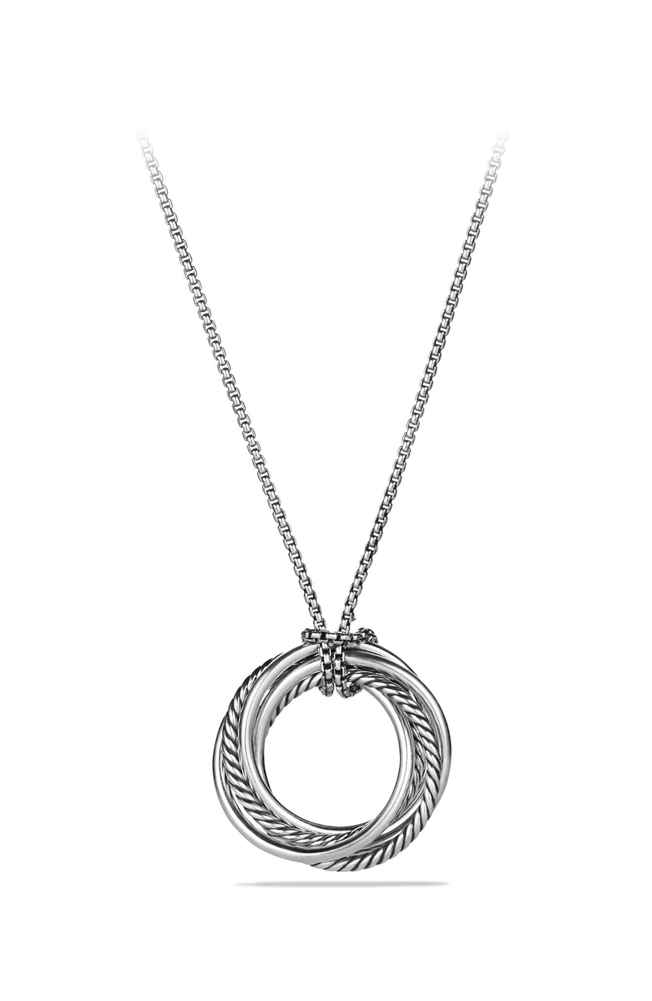 'Crossover' Pendant Necklace with Diamonds,                             Alternate thumbnail 4, color,                             DIAMOND