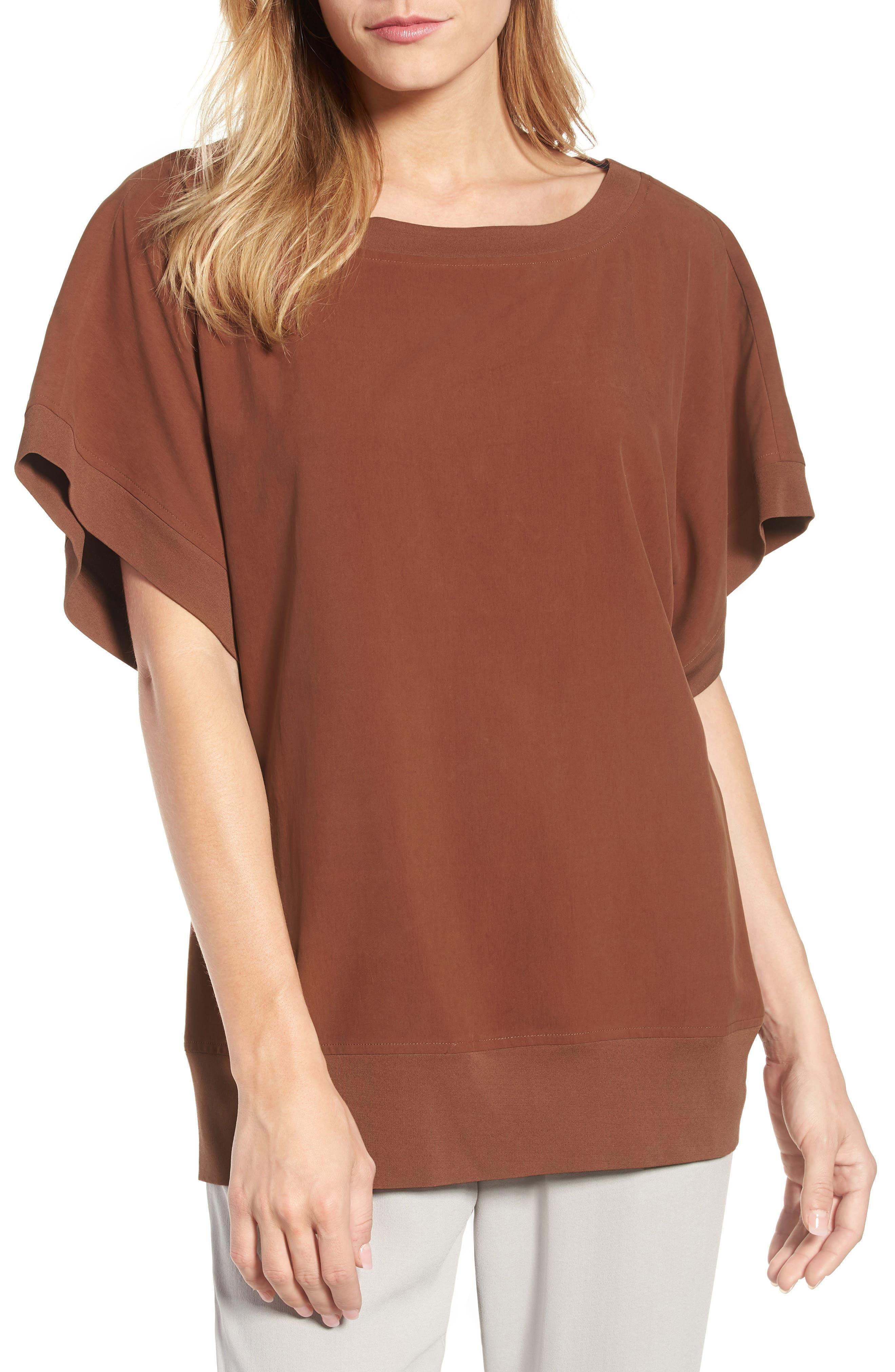 Contrast Trim Silk Top,                         Main,                         color, 242