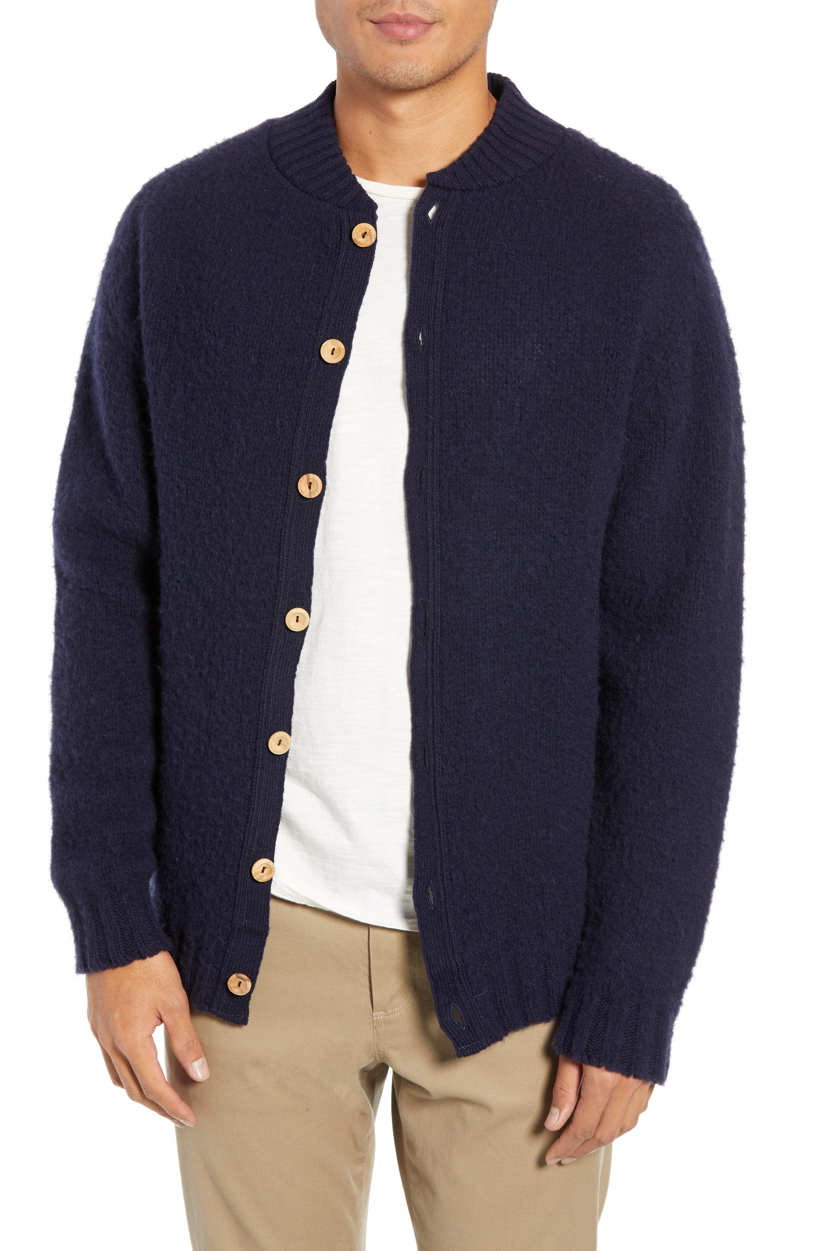 Baseball Cardy Wool Sweater, Main, color, NAVY