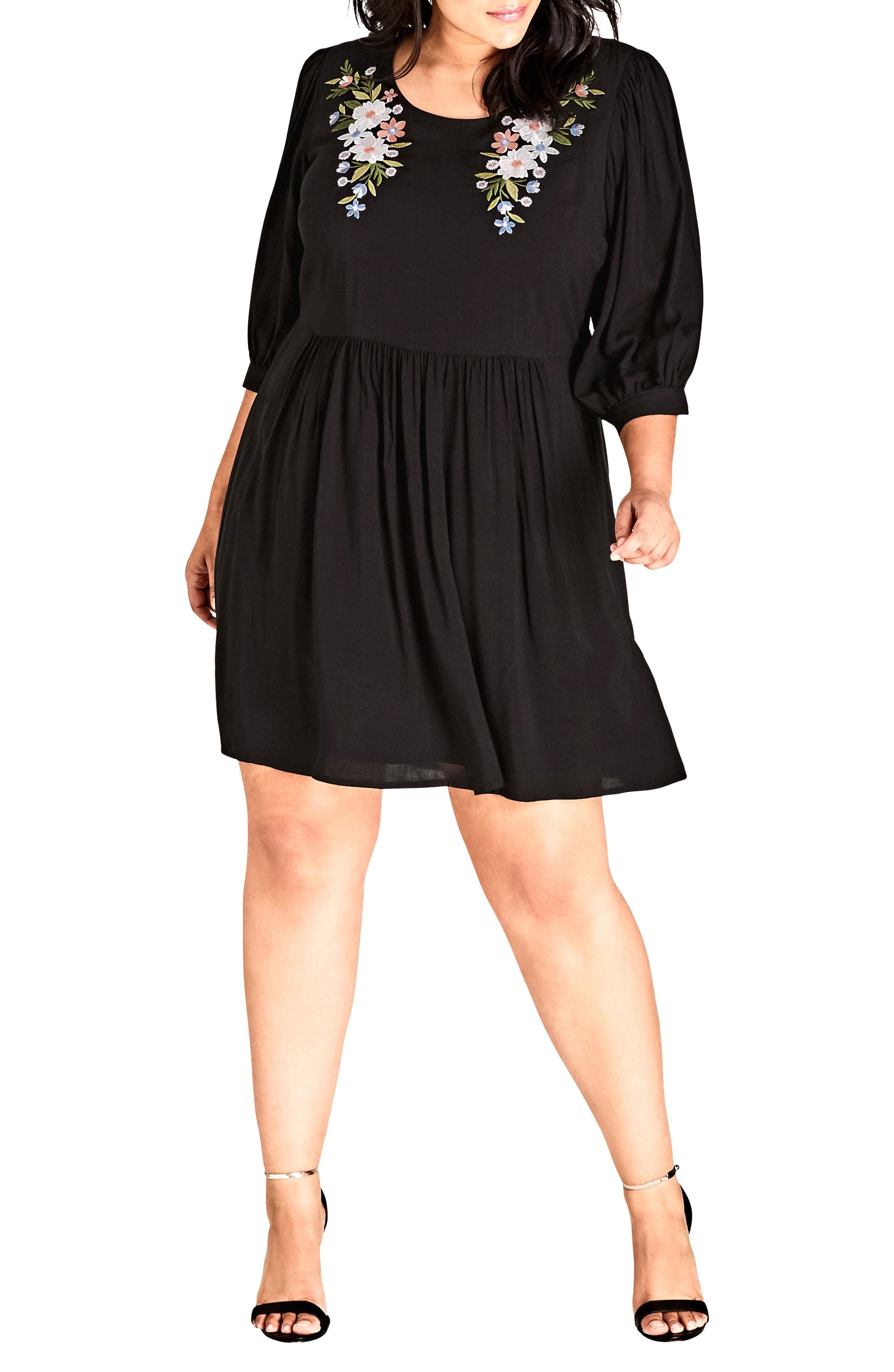Plus Size City Chic Floral Fling Embroidered Dress, Black
