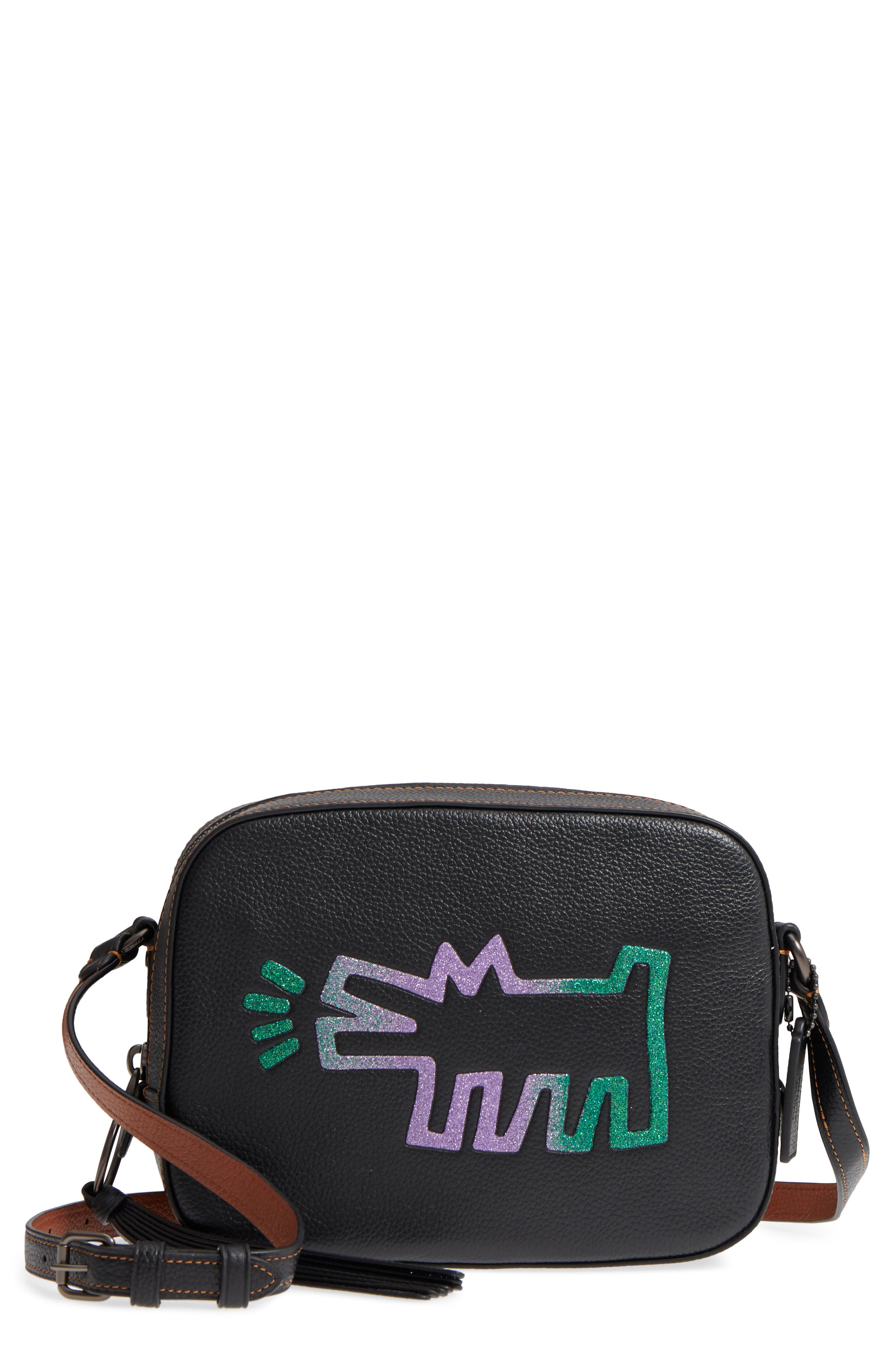 x Keith Haring Barking Crazy Dog Leather Camera Bag,                         Main,                         color, 001