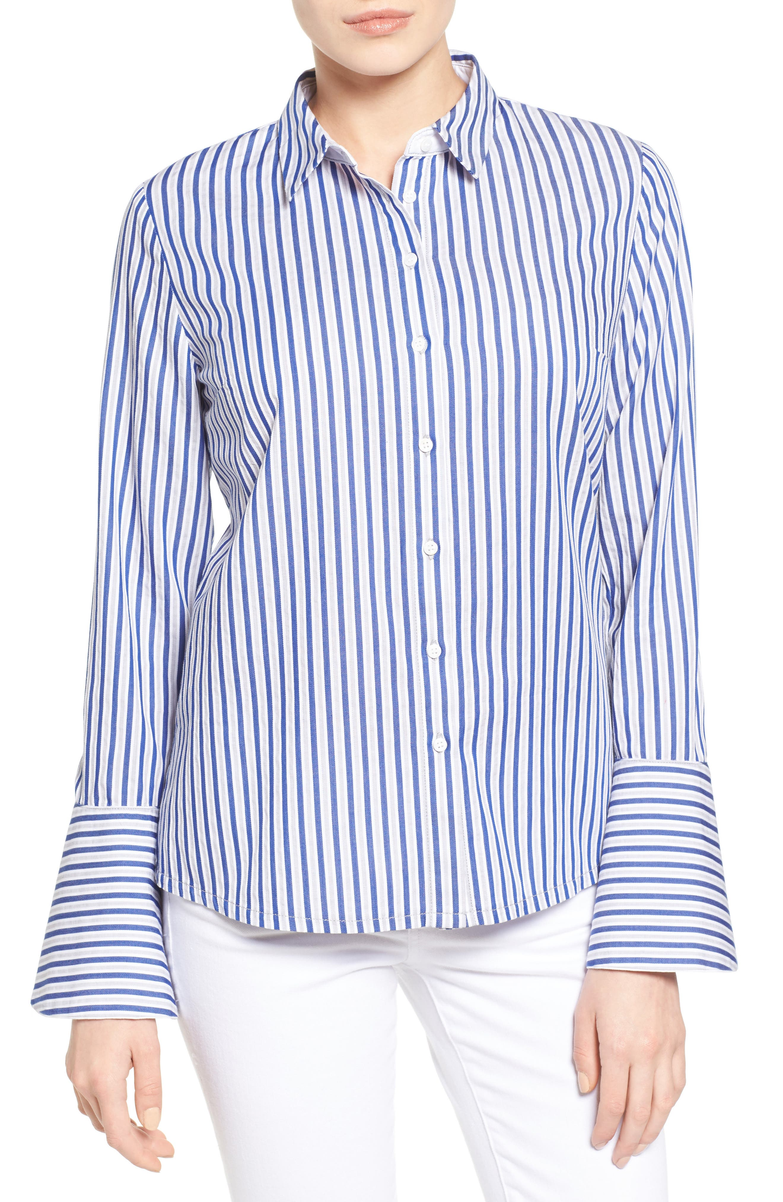 Luz Stripe Bell Cuff Shirt,                             Main thumbnail 1, color,                             494