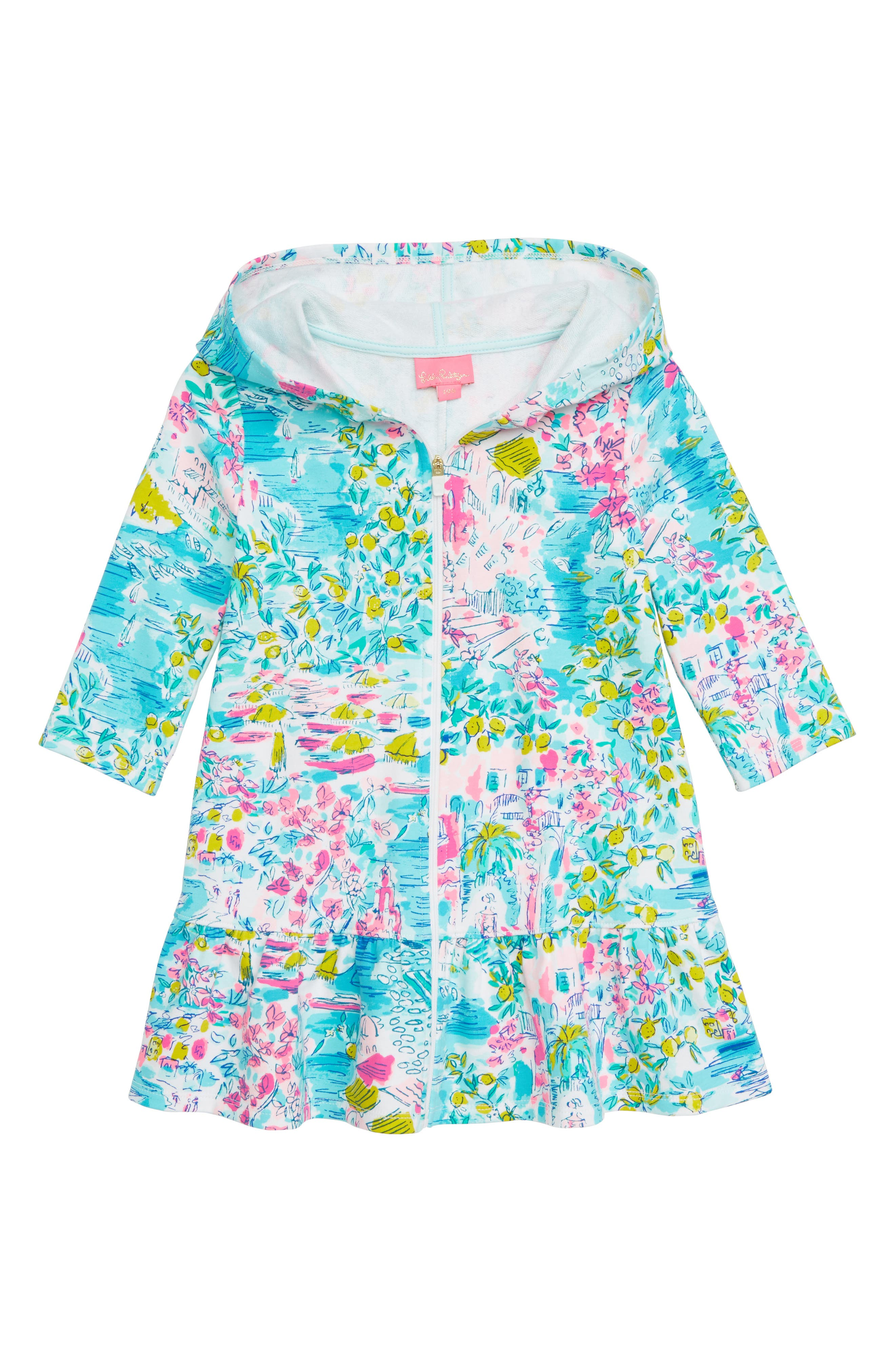 Cooke Hooded Cover-Up Dress, Main, color, MULTI POSTCARDS FROM POSITANO