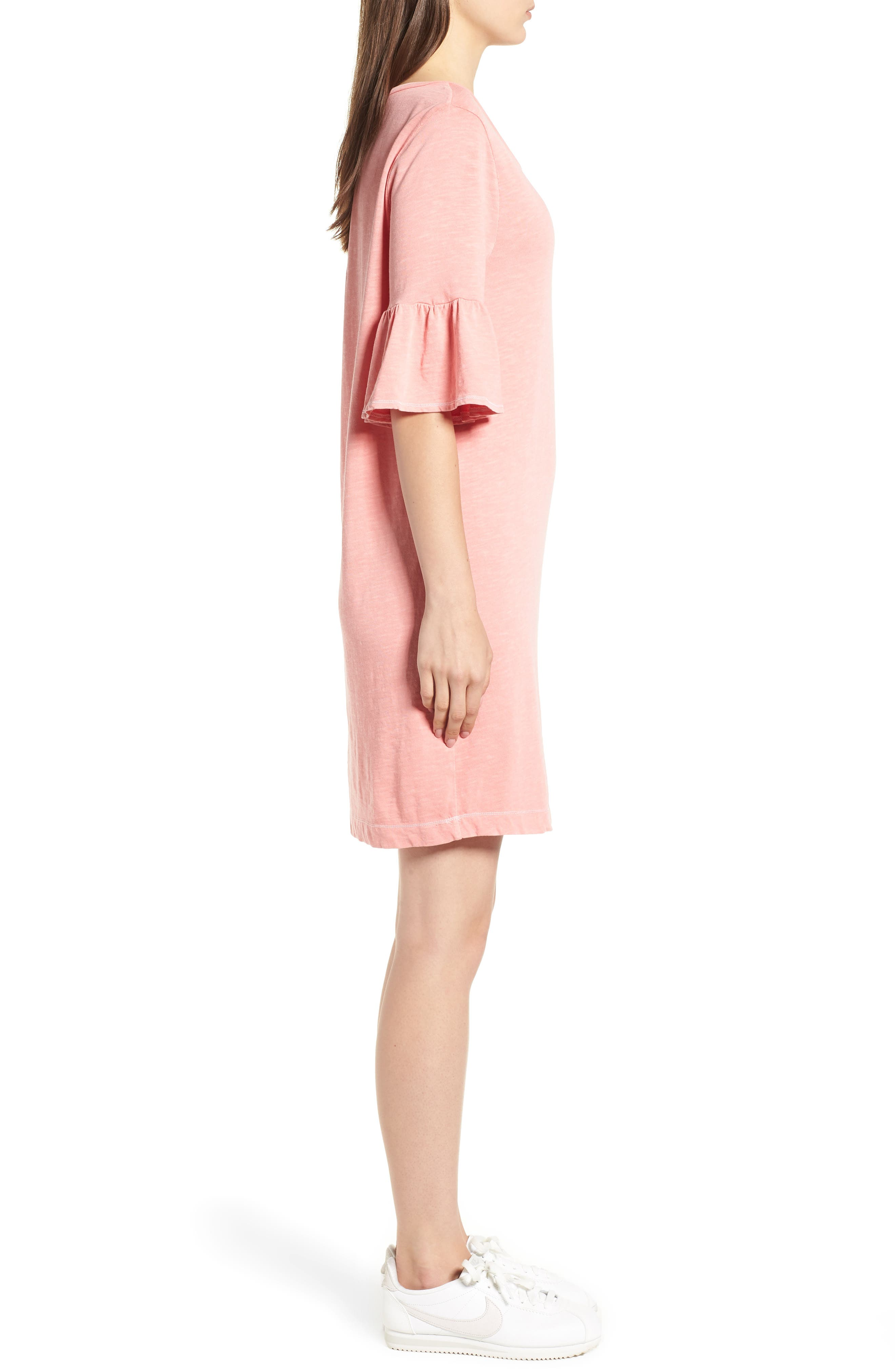 Ruffle Sleeve Shift Dress,                             Alternate thumbnail 3, color,                             CACTUS FLOWER