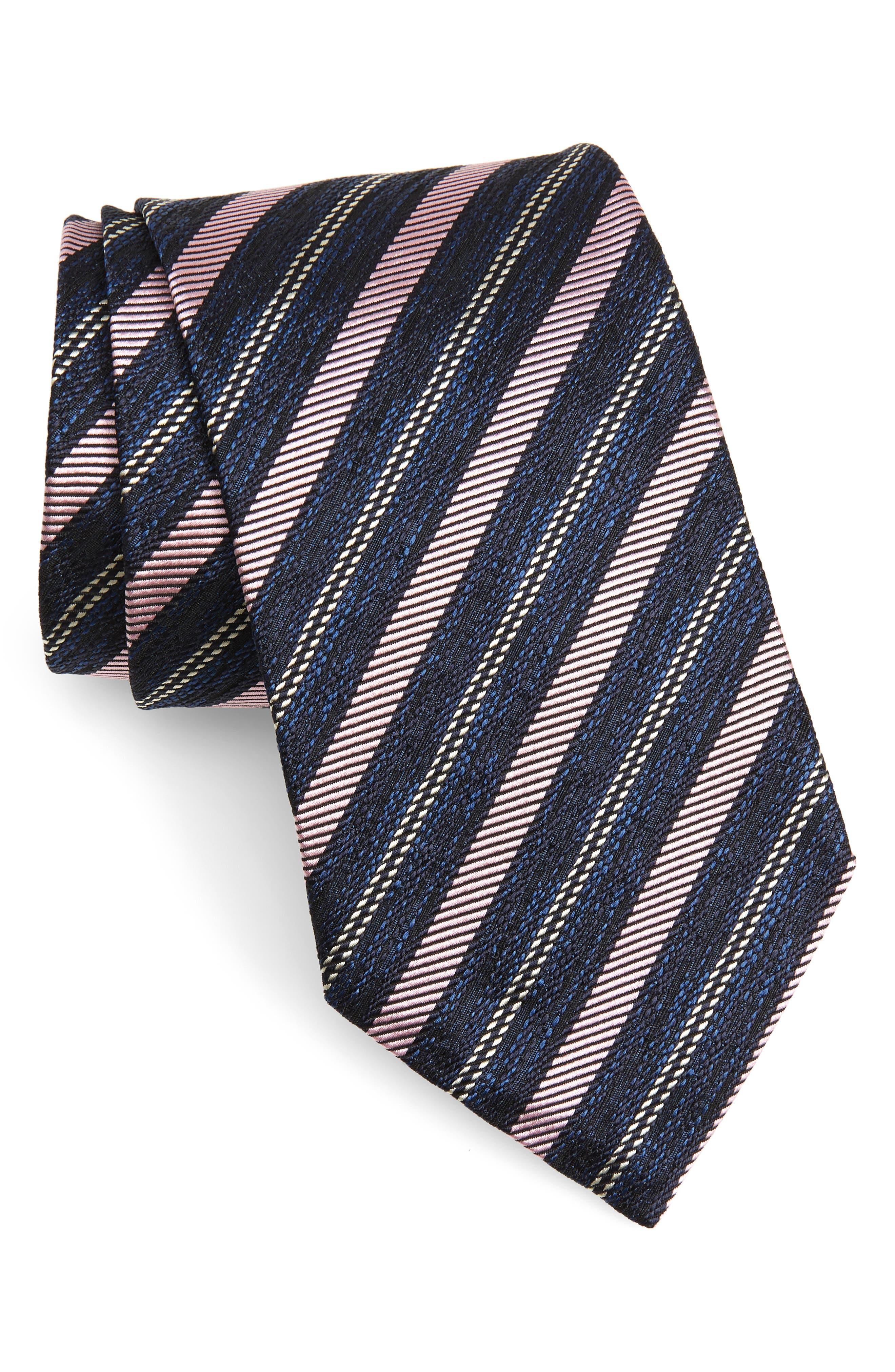 Stripe Silk Tie,                         Main,                         color, 500