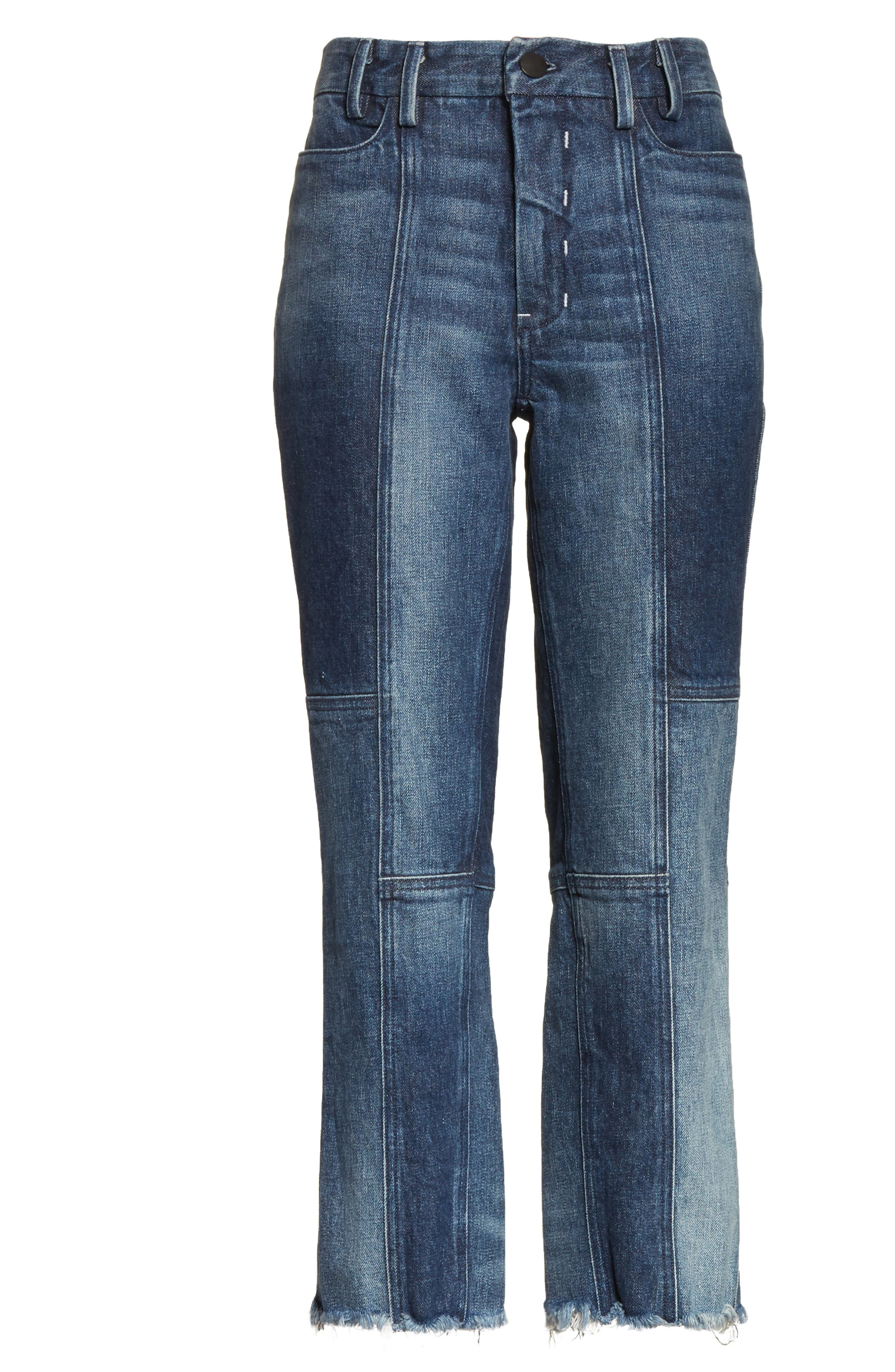 Frayed Seamed Crop Jeans,                             Alternate thumbnail 6, color,                             410