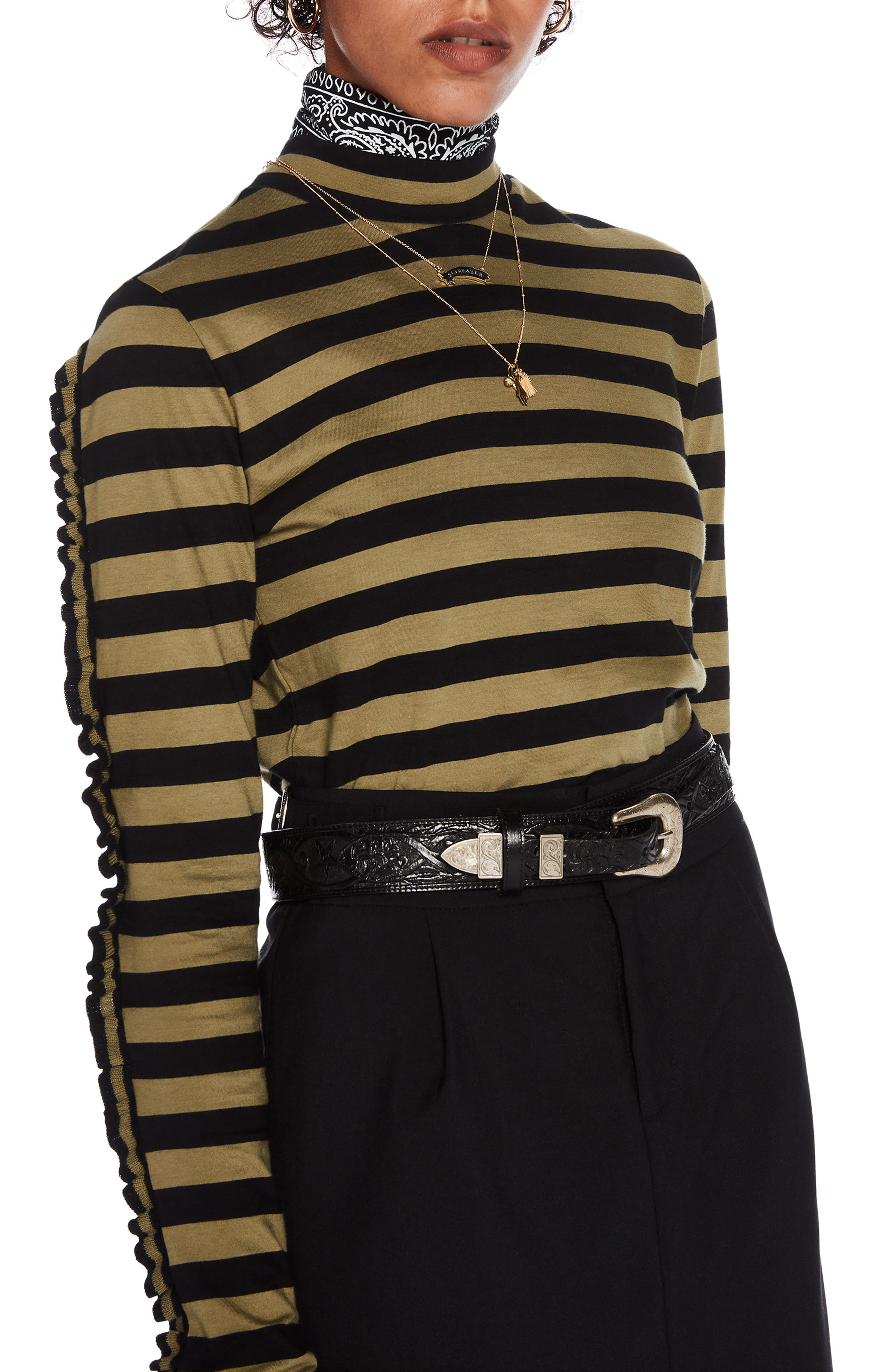 Stripe High Neck Tee,                             Main thumbnail 1, color,                             YELLOW STRIPE