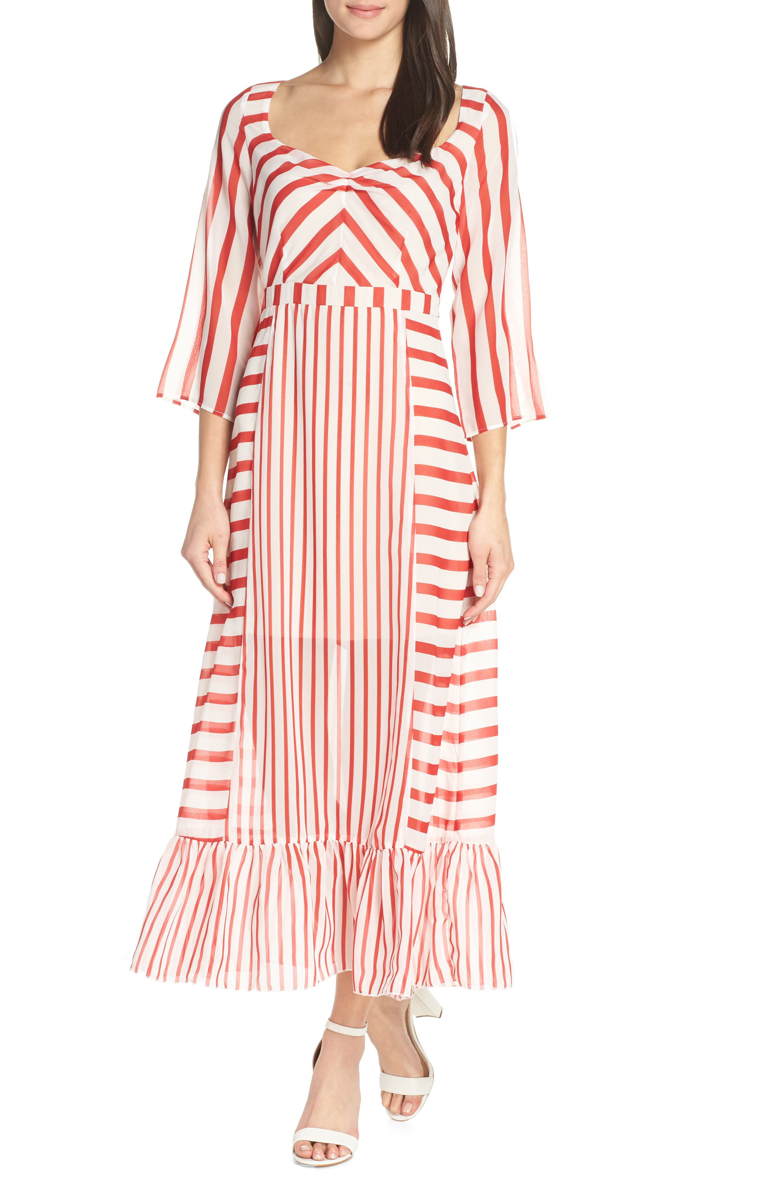 Chelsea28 Multi Stripe Maxi Dress, Red
