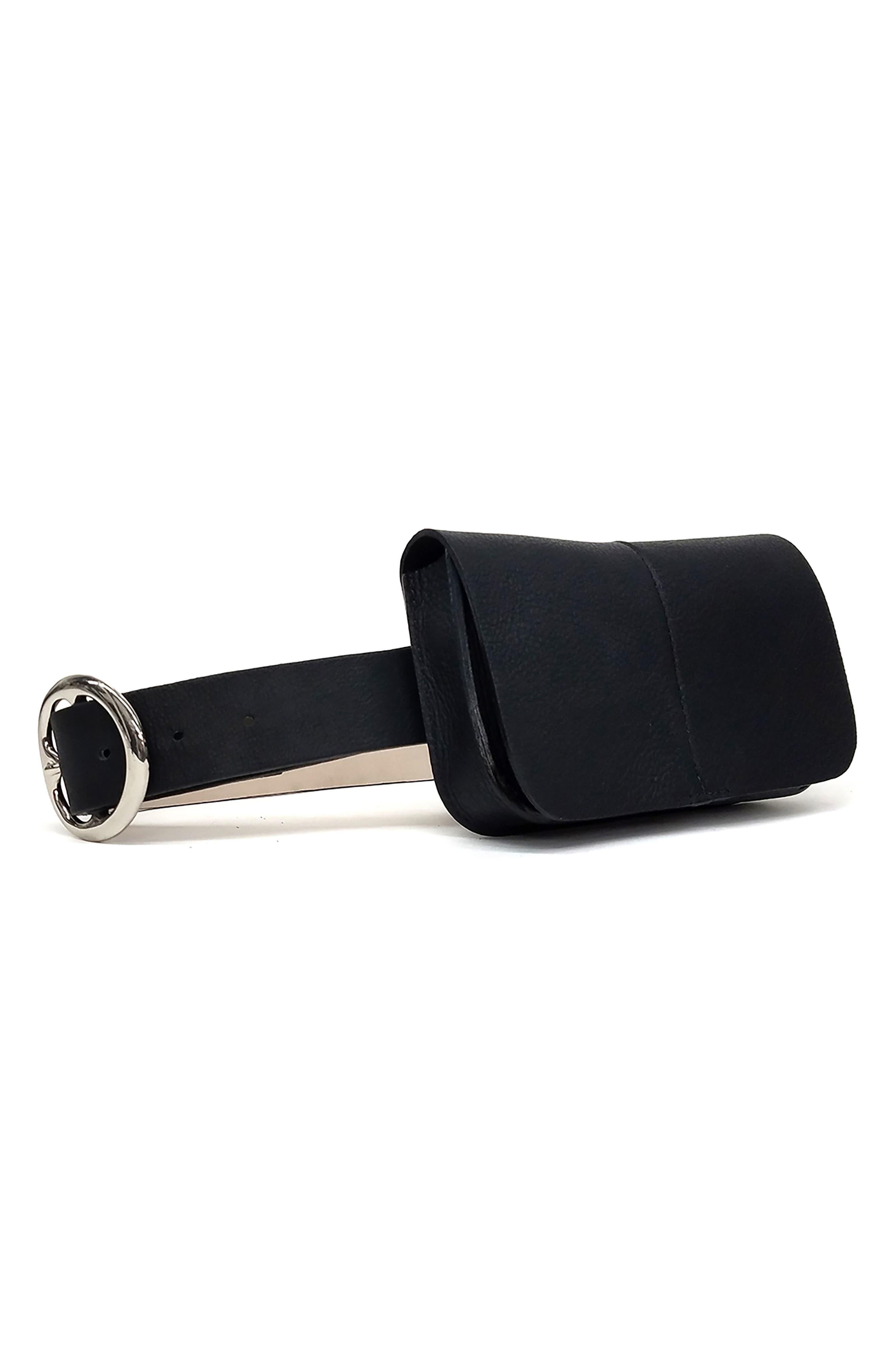 B-Low The Belt Sidney Leather Belt Bag, Black/ Silver