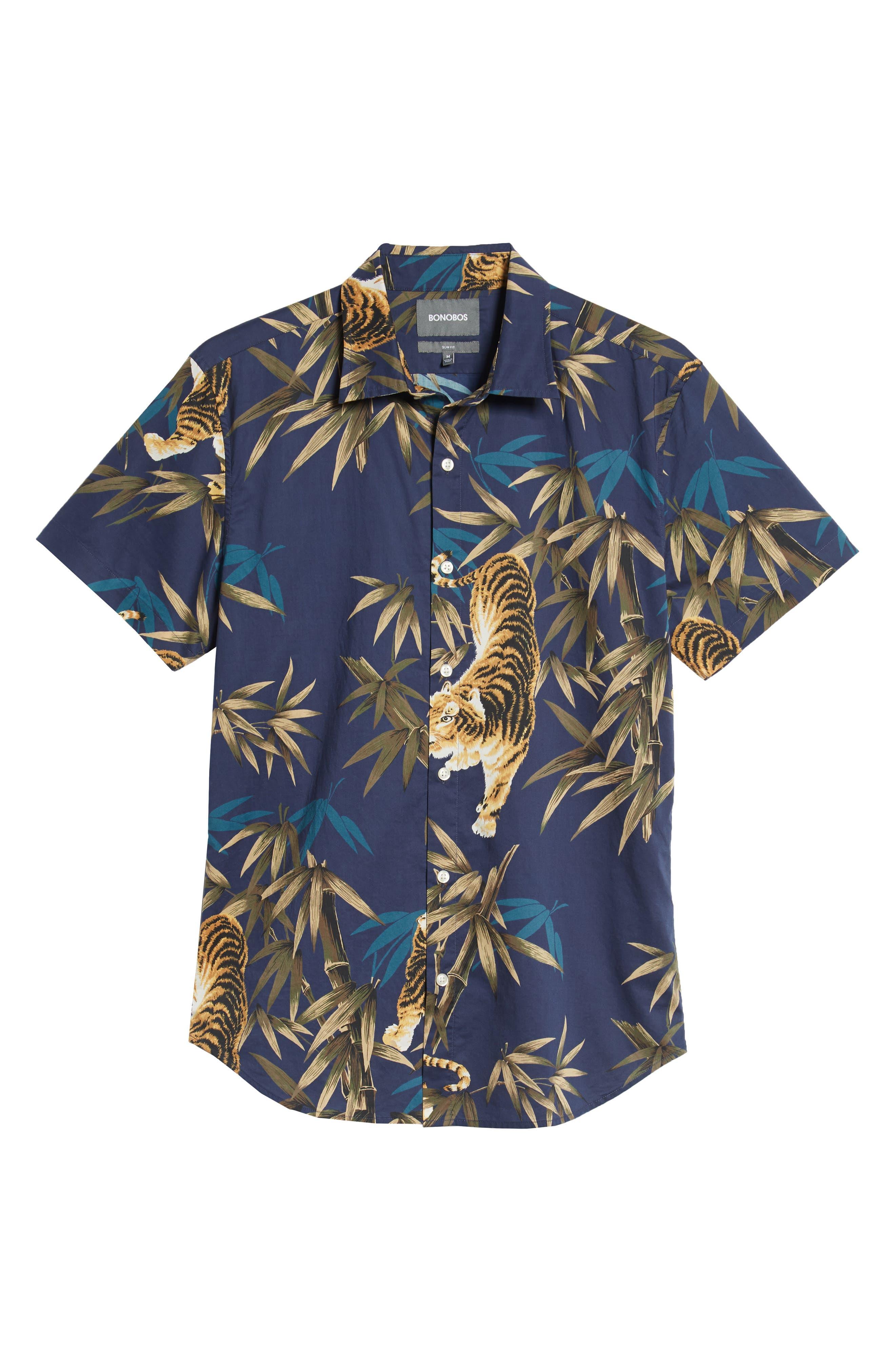 Riviera Slim Fit Tiger Print Sport Shirt,                             Alternate thumbnail 5, color,                             BAMBOO TIGER - VERDE