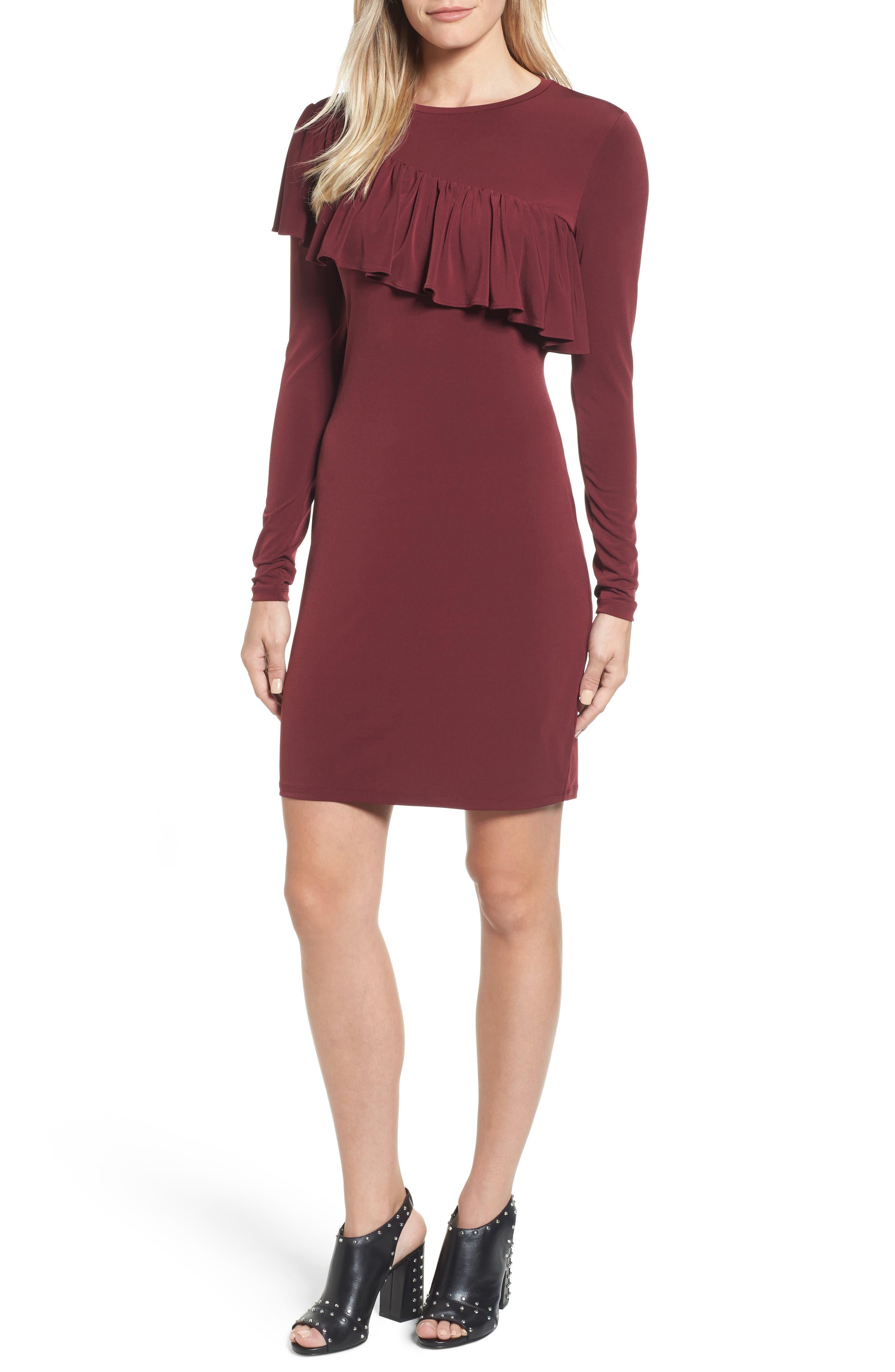 Long Sleeve Ruffle Dress,                             Main thumbnail 1, color,                             633