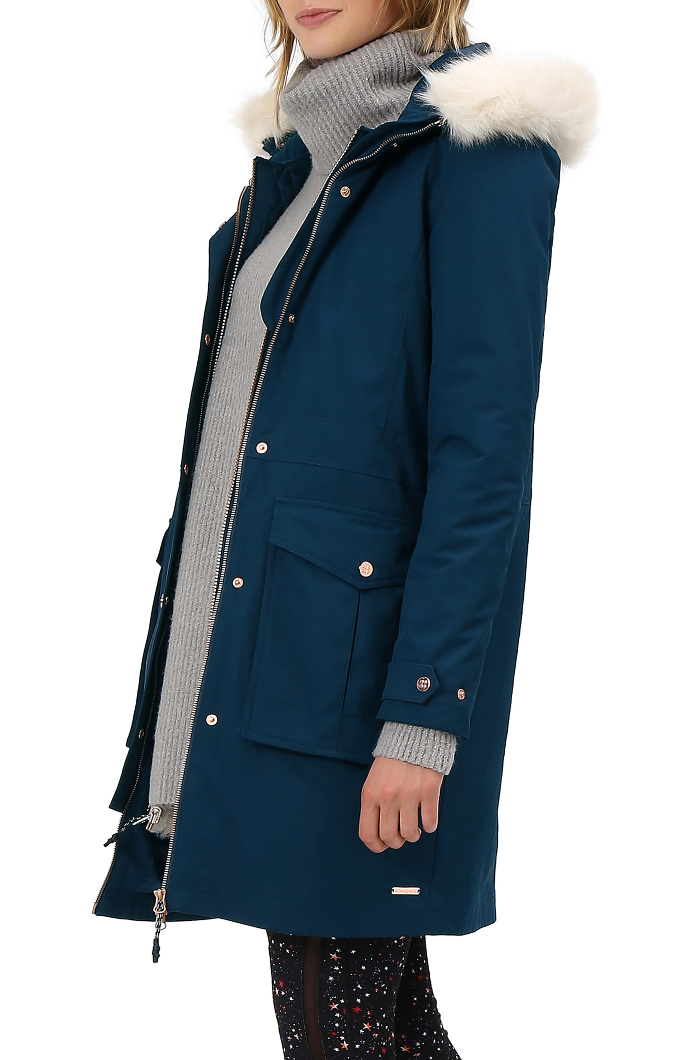 Highlands Three-In-One Faux Fur & Faux Shearling Coat, Main, color, BEETLE BLUE