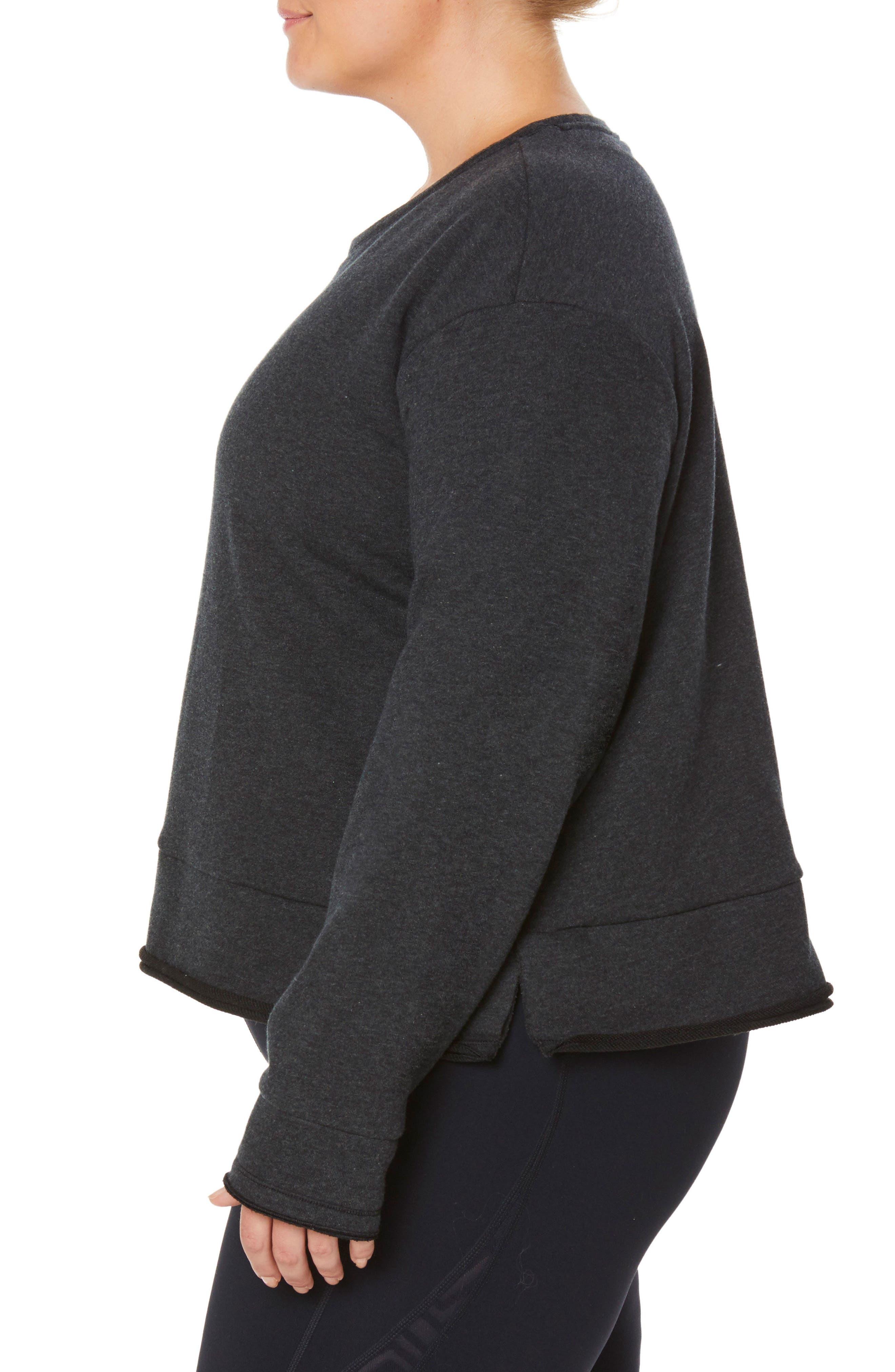 Shape Extended Day Sweatshirt,                             Alternate thumbnail 3, color,                             CHARCOAL BLACK