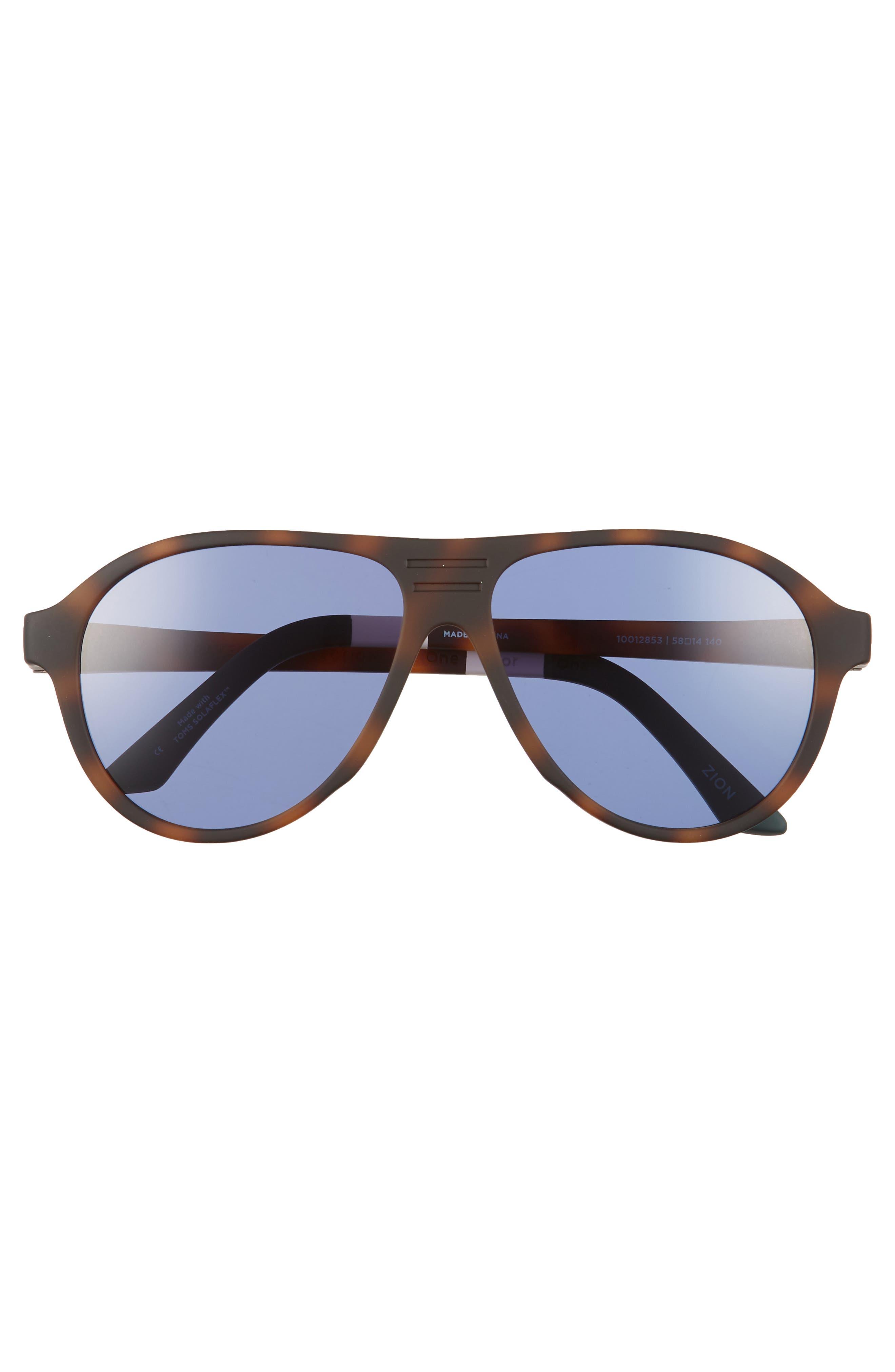 Traveler Zion 58mm Aviator Sunglasses,                             Alternate thumbnail 2, color,                             MATTE DARK TORTOISE/ INDIGO