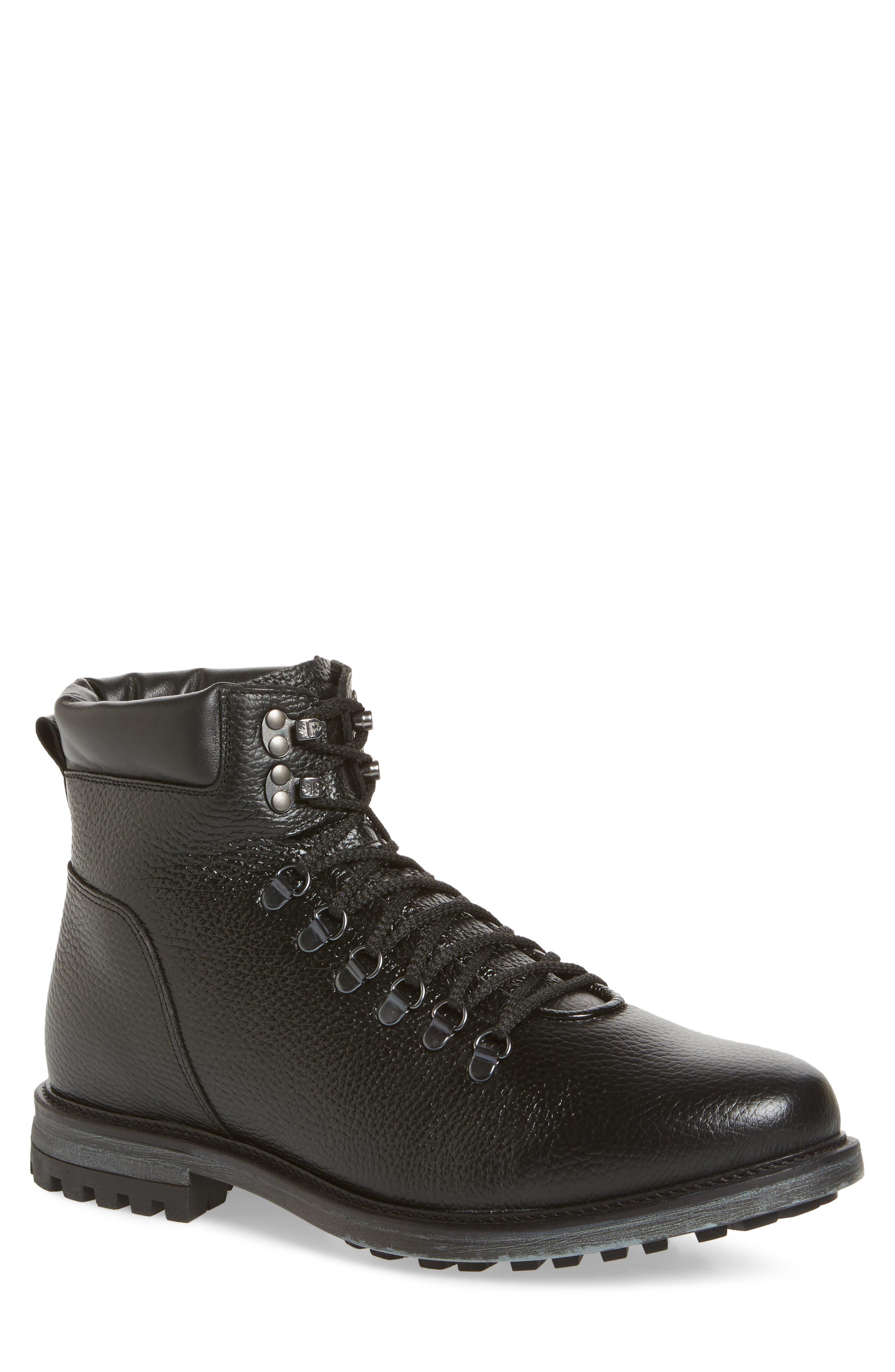 Venice Genuine Shearling Lined Plain Toe Boot,                             Main thumbnail 1, color,                             BLACK LEATHER