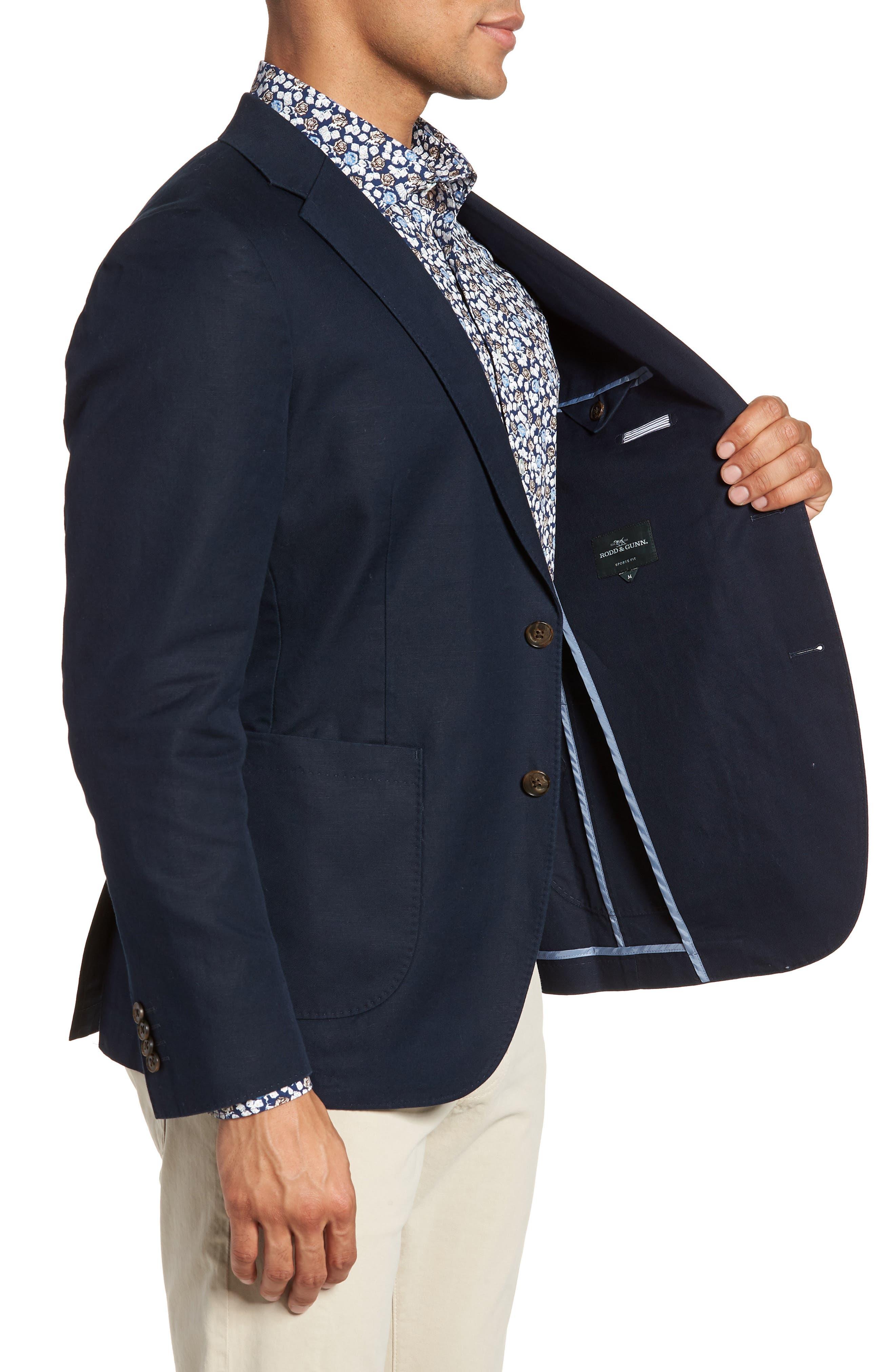 Maxwell Valley Cotton & Linen Sport Coat,                             Alternate thumbnail 3, color,                             MIDNIGHT