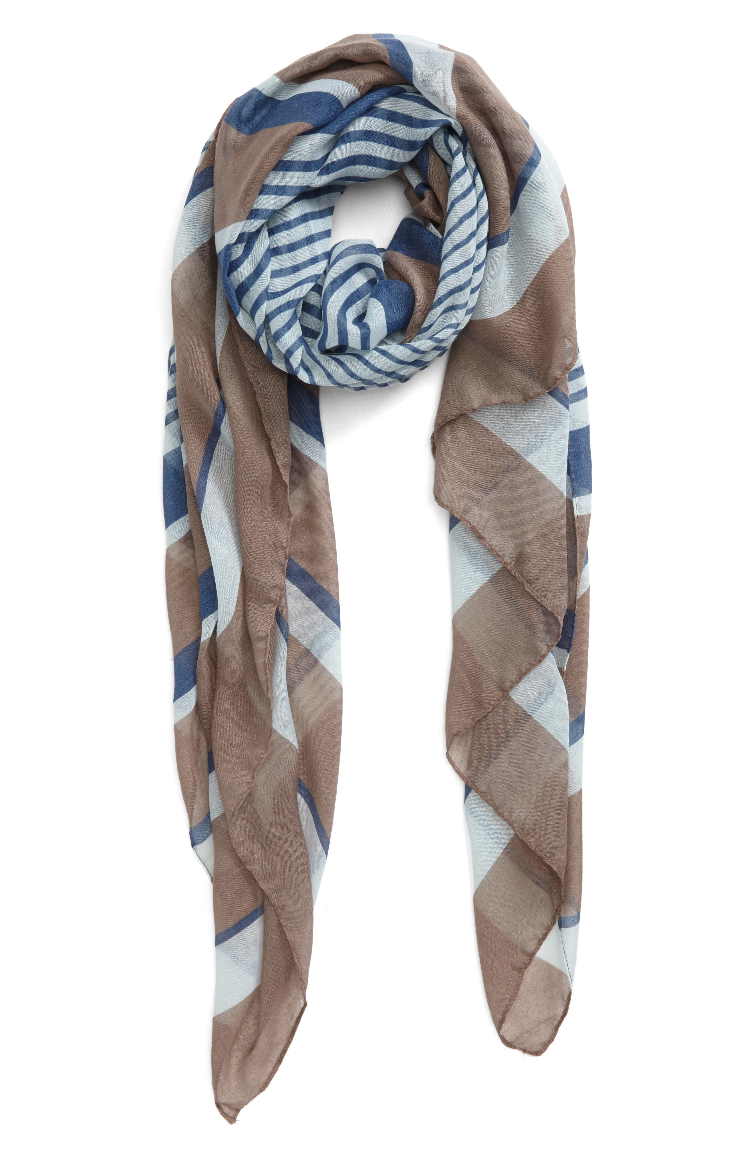 Accessory Collective Multi Stripe Oblong Scarf,                             Main thumbnail 1, color,                             402